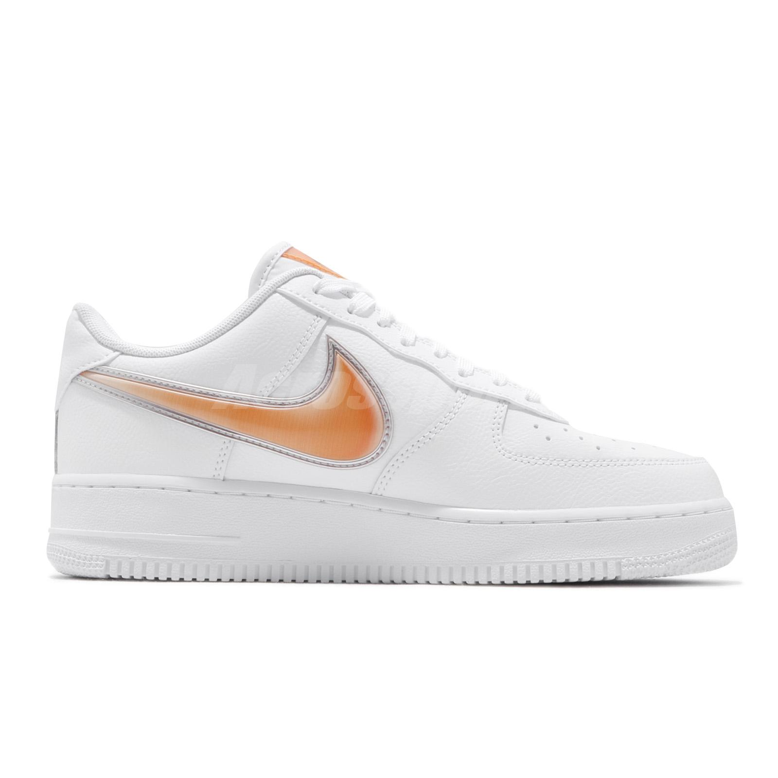 quality design 7741a 8fcd6 Details about Nike Air Force 1 07 LV8 3 Oversized Swoosh White Orange Peel  Men Shoe AO2441-102