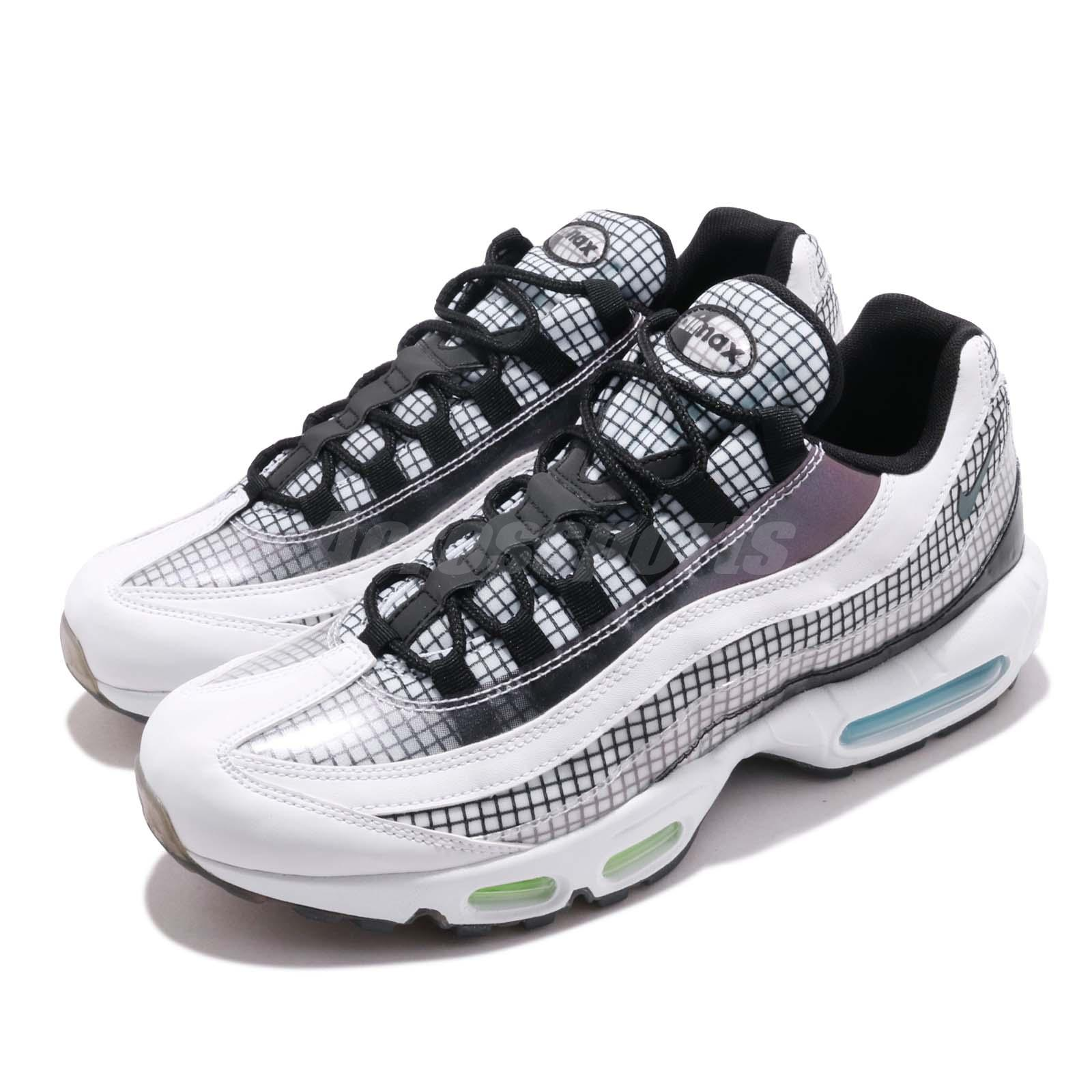 Details about Nike Air Max 95 LV8 Grid White Black Blue Gaze Men Running Shoes AO2450 100