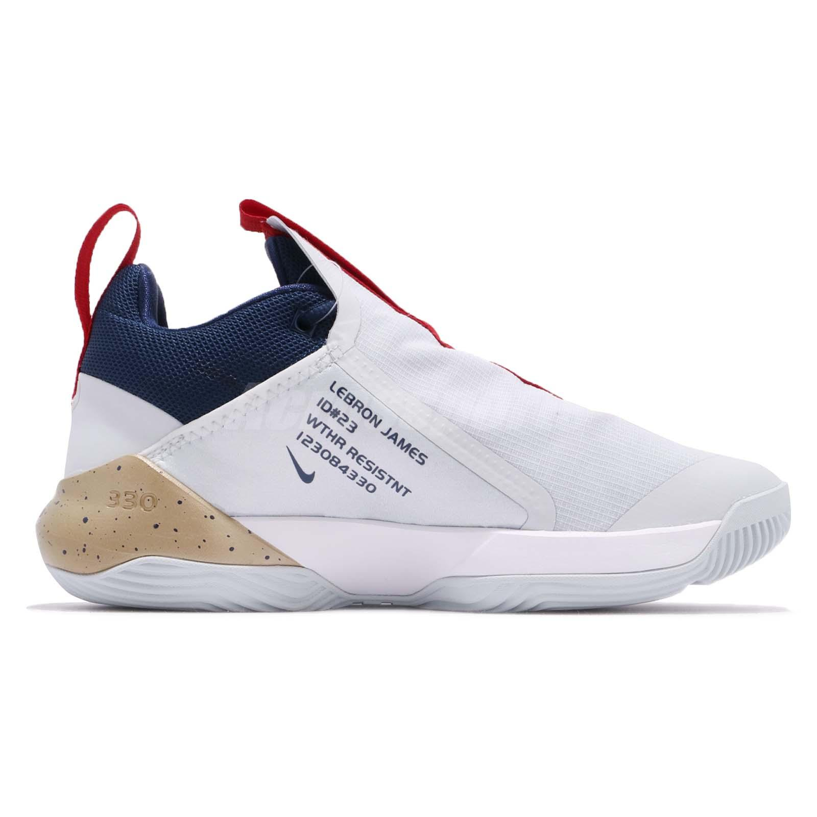 c9bc6eecfbf0 Nike Ambassador XI 11 Lebron James LBJ White Red Gold Navy Men Shoes ...
