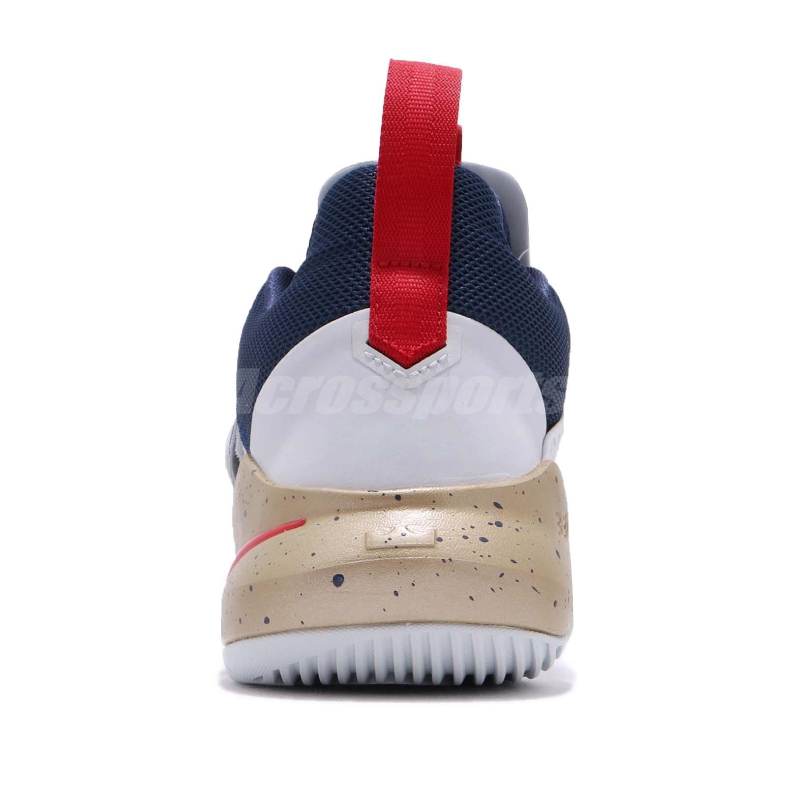 0c6a9ad0ce2b Nike Ambassador XI 11 Lebron James LBJ White Red Gold Navy Men Shoes ...