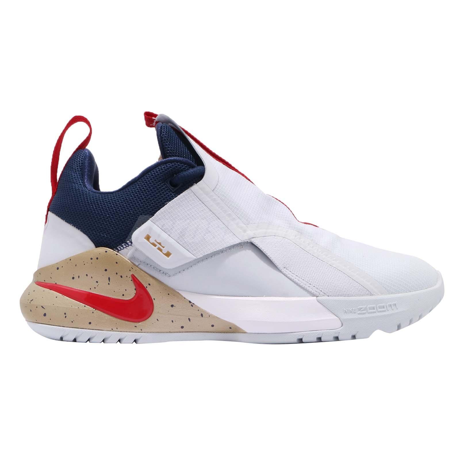 6324a1e78f1 Nike Ambassador XI 11 Lebron James LBJ White Red Gold Navy Men Shoes ...