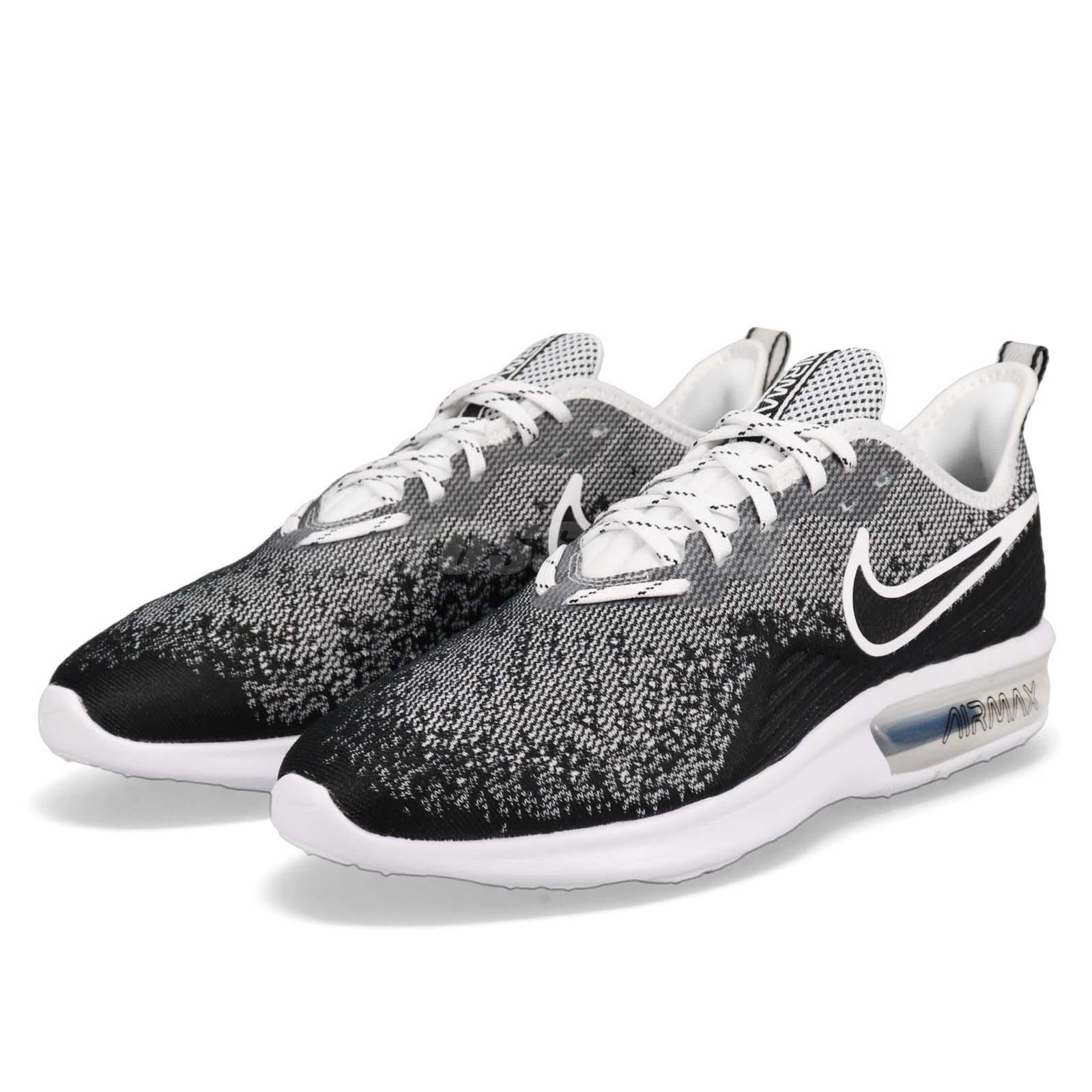 promo code 0e34f 4d4bb Details about Nike Air Max Sequent 4 IV Black White Men Running Shoes  Sneakers AO4485-001