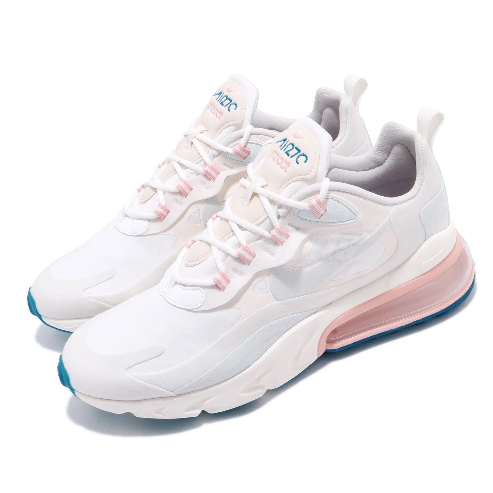 Nike Air Max 270 React Summit White Blue Pink Mens Running Shoes