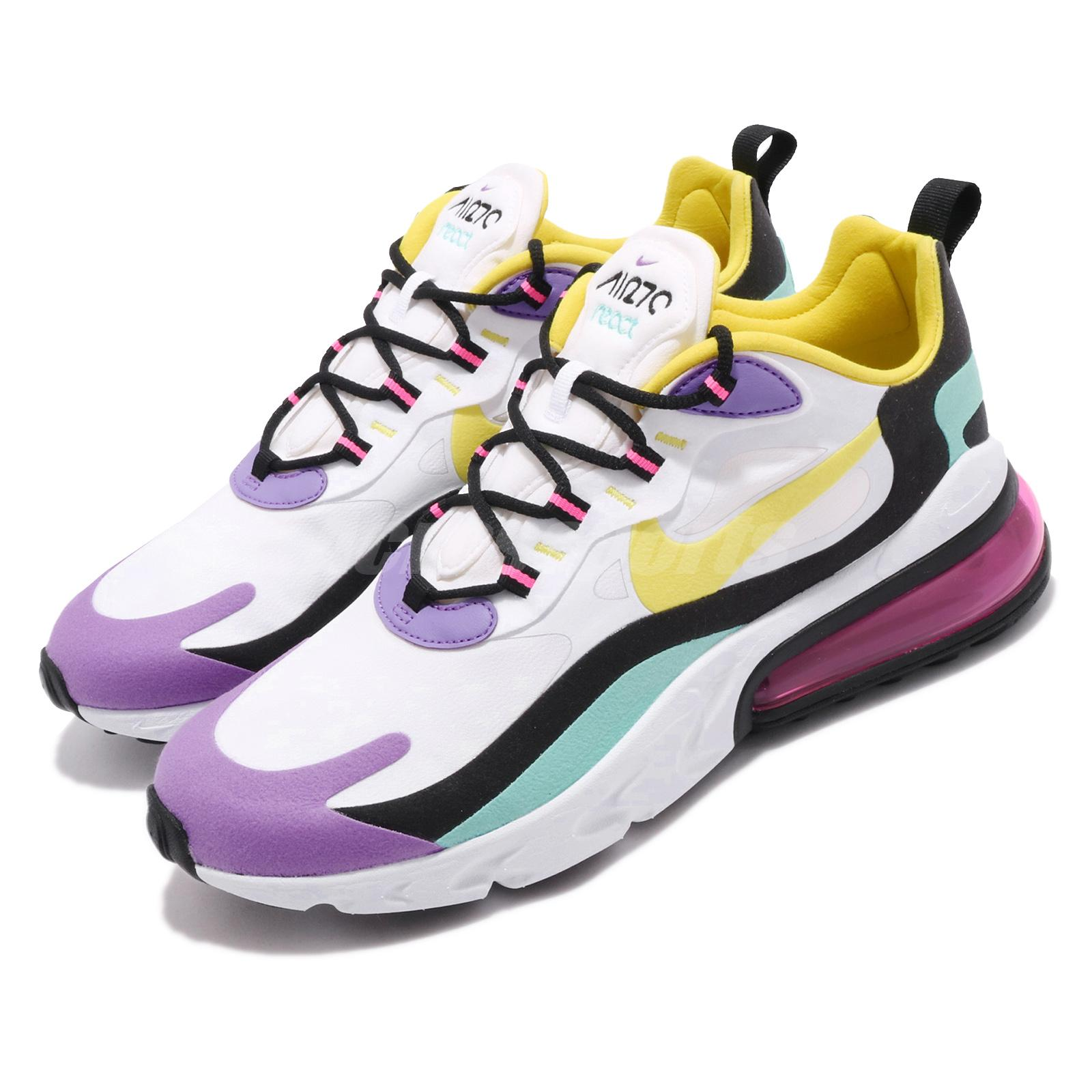 Details about Nike Air Max 270 React Bright Violet White Yellow Mens Running Shoes AO4971 101