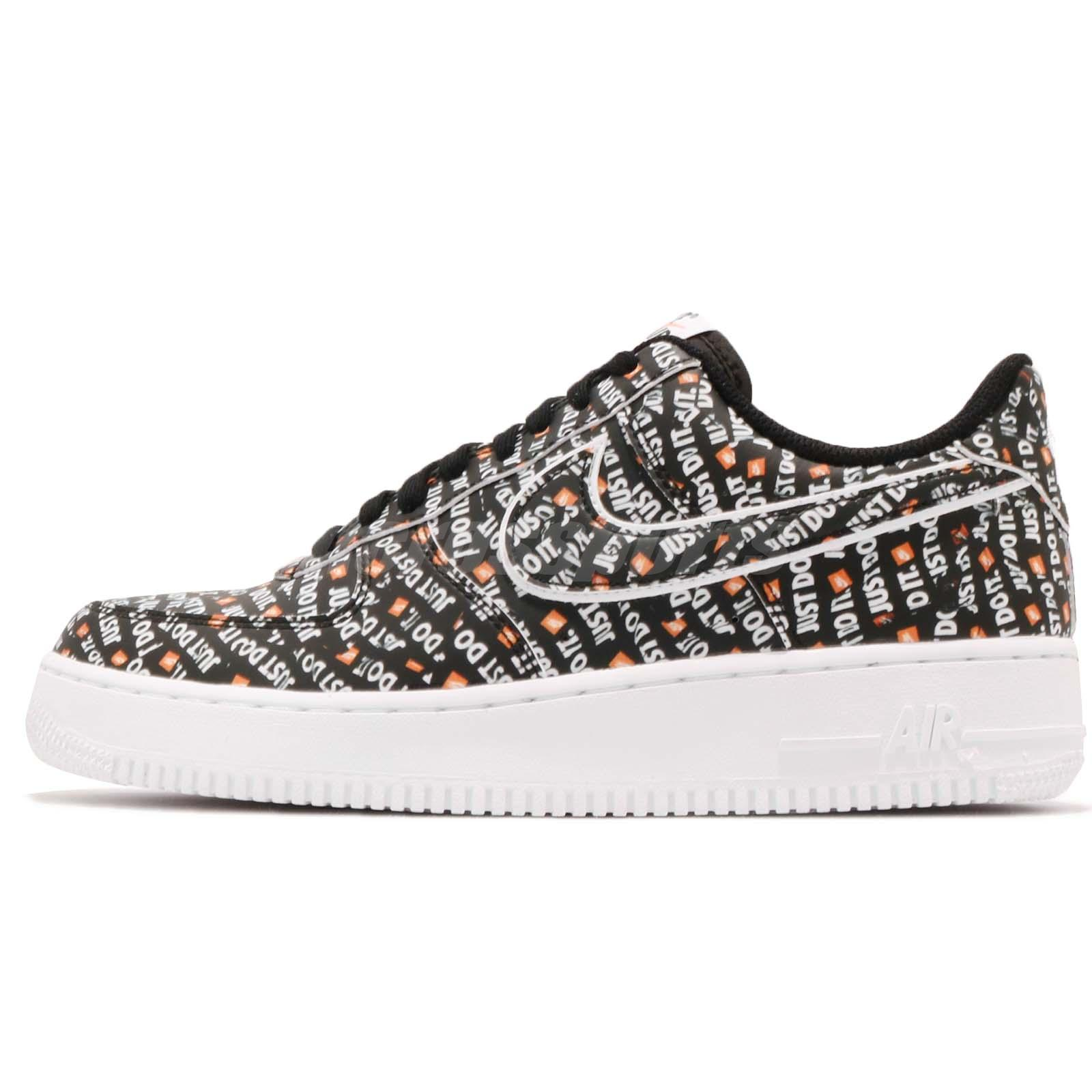 finest selection 6e9cf ecba3 Nike Air Force 1 07 LV8 JDI Just Do It Black White Mens AF1 Sneakers  AO6296-001