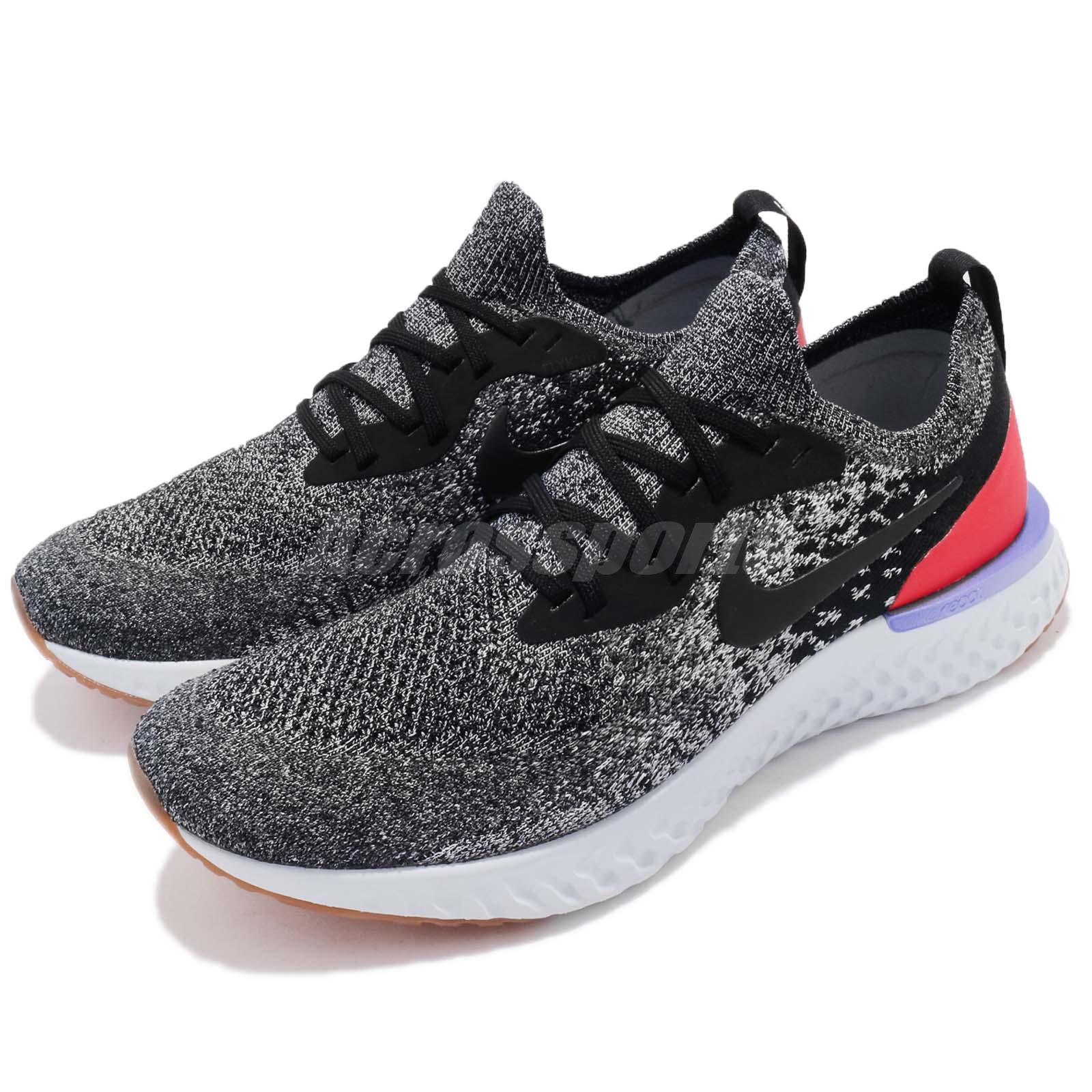 28f0e0f73bc1 Details about Nike Epic React Flyknit Black White Orbit Grey Men Running  Sneakers AQ0067-006