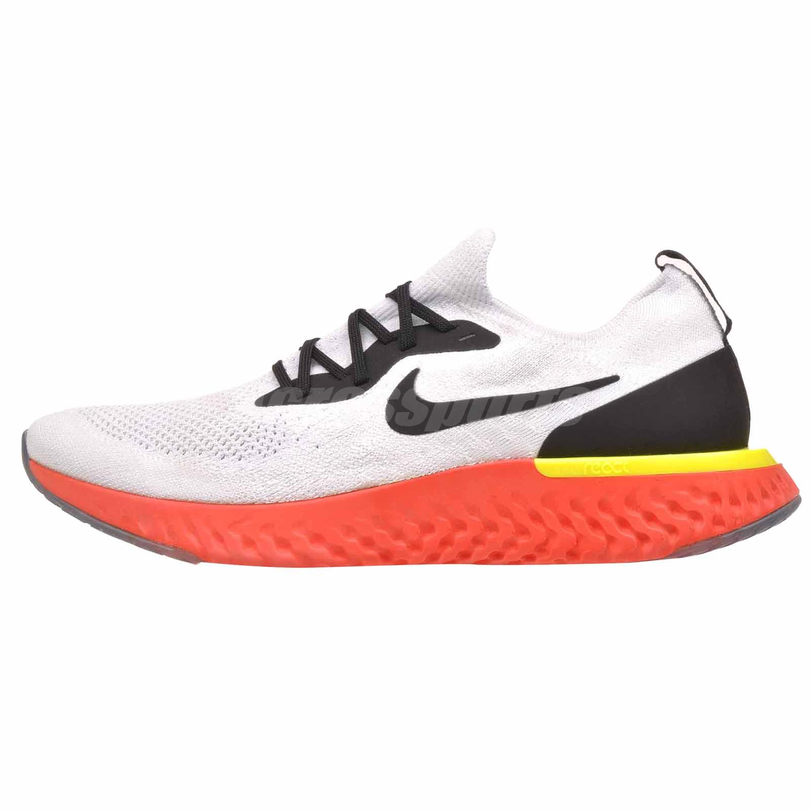 033983e9 Details about Nike Epic React Flyknit Running Mens Shoes Platinum Black  Orange AQ0067-103