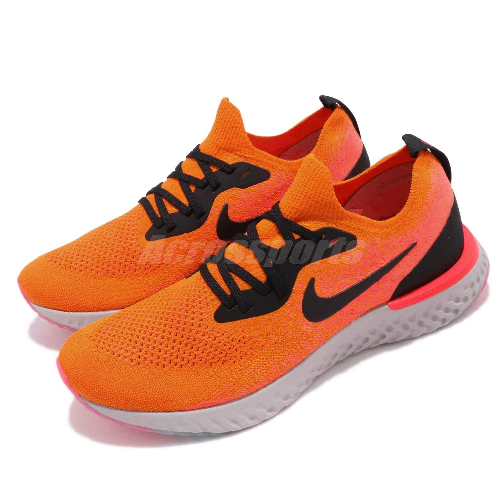 6cc51d9f1e4 Details about Nike Epic React Flyknit Copper Flash Black Men Running Shoes  Sneakers AQ0067-800