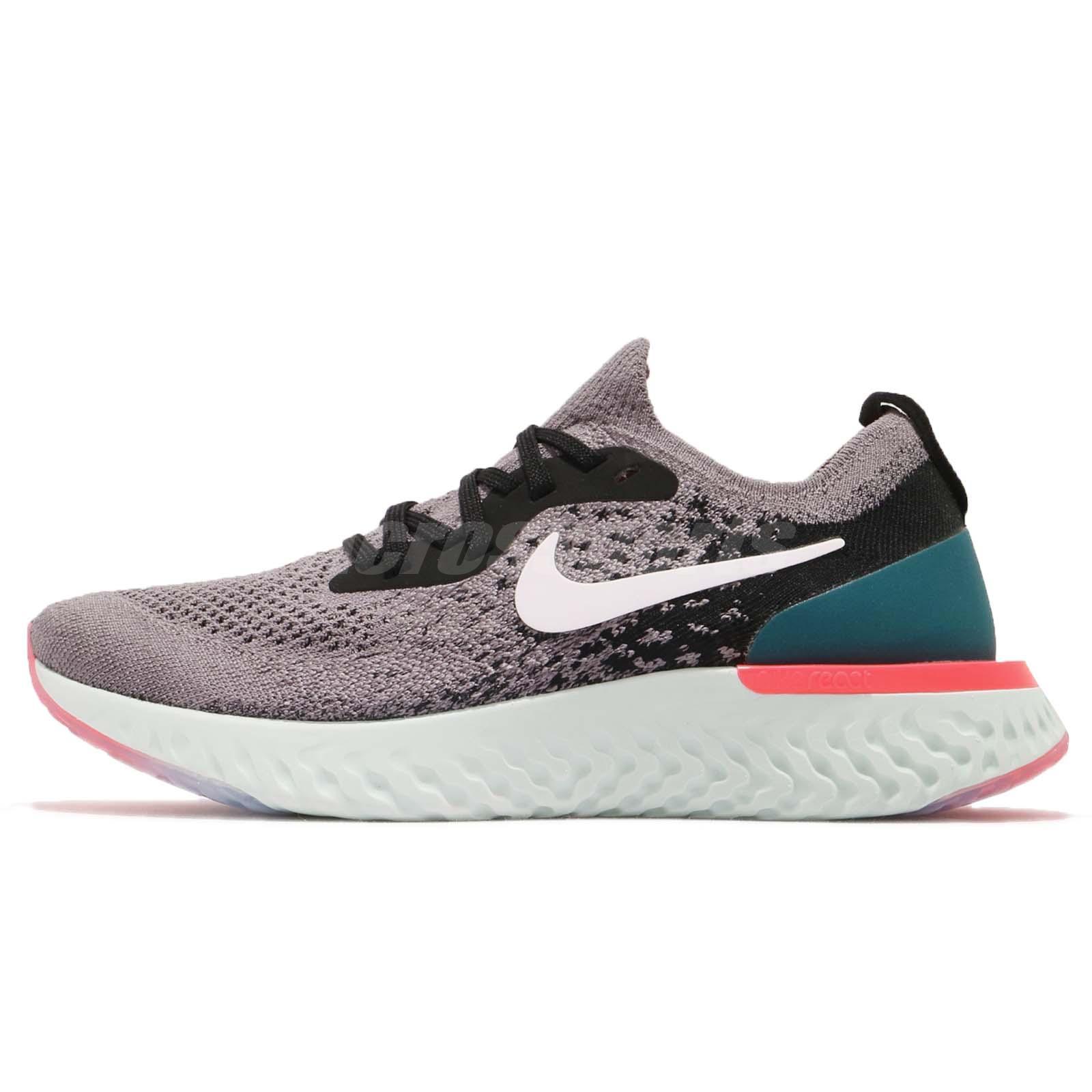 f2baa478cdb89 Nike Wmns Epic React Flyknit Grey Black Green Pink Women Running Shoe AQ0070 -010