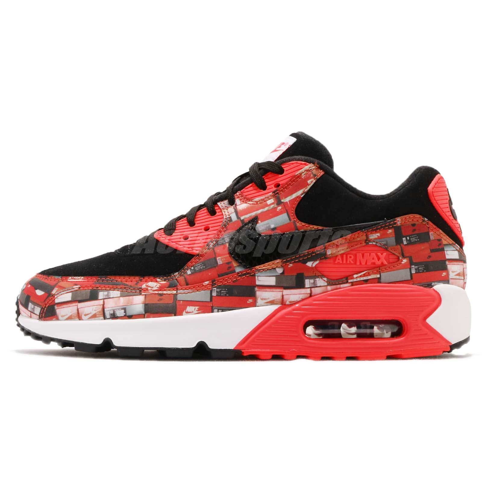Atmos X Nike Air Max 90 Print We Love Nike Black Bright Crimson AQ0926-001 38f3073861