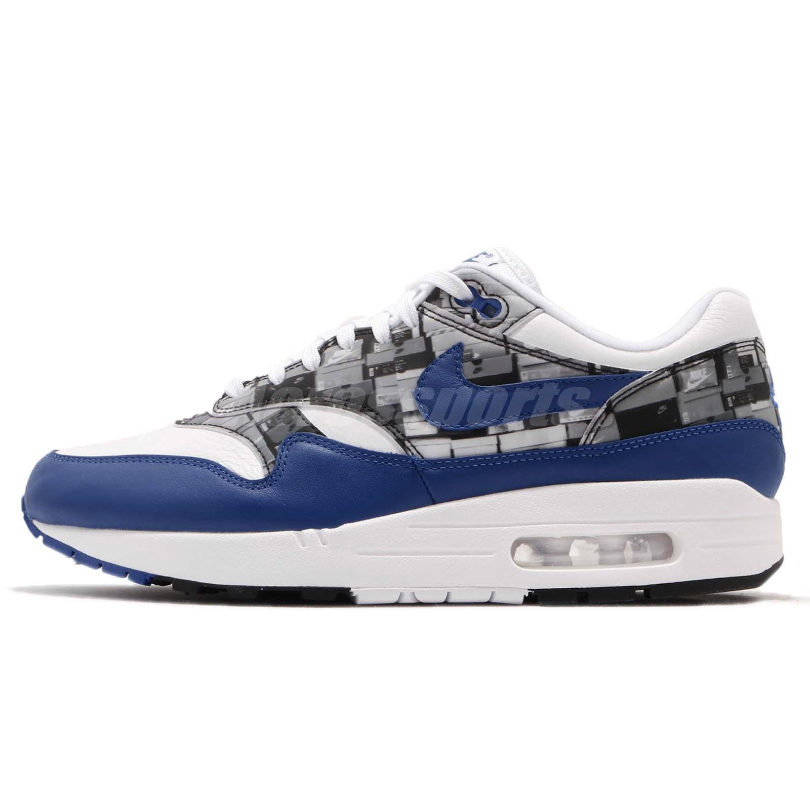 f38d80f324373f Atmos X Nike Air Max 1 Print We Love Nike White Blue Royal Mens Shoes AQ0927 -100