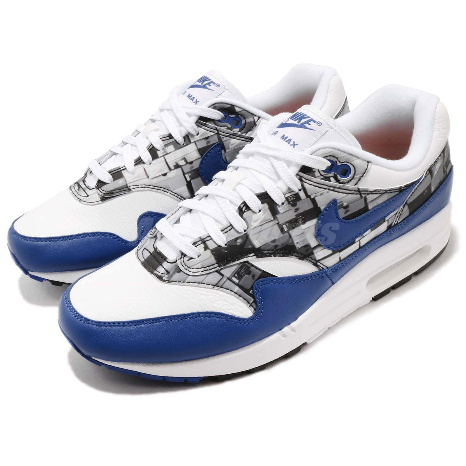 huge selection of f5b70 f539b Details about Atmos X Nike Air Max 1 Print We Love Nike White Blue Royal  Mens Shoes AQ0927-100