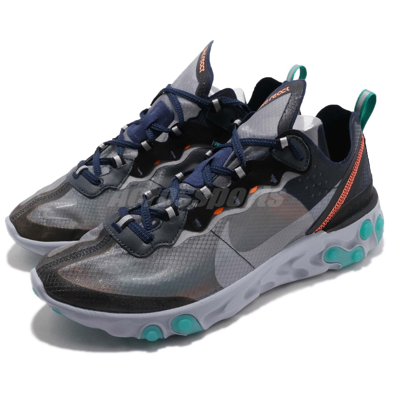 b9e151a85c31 Details about Nike React Element 87 Neptune Green Black Navy Mens Running  Shoes AQ1090-005