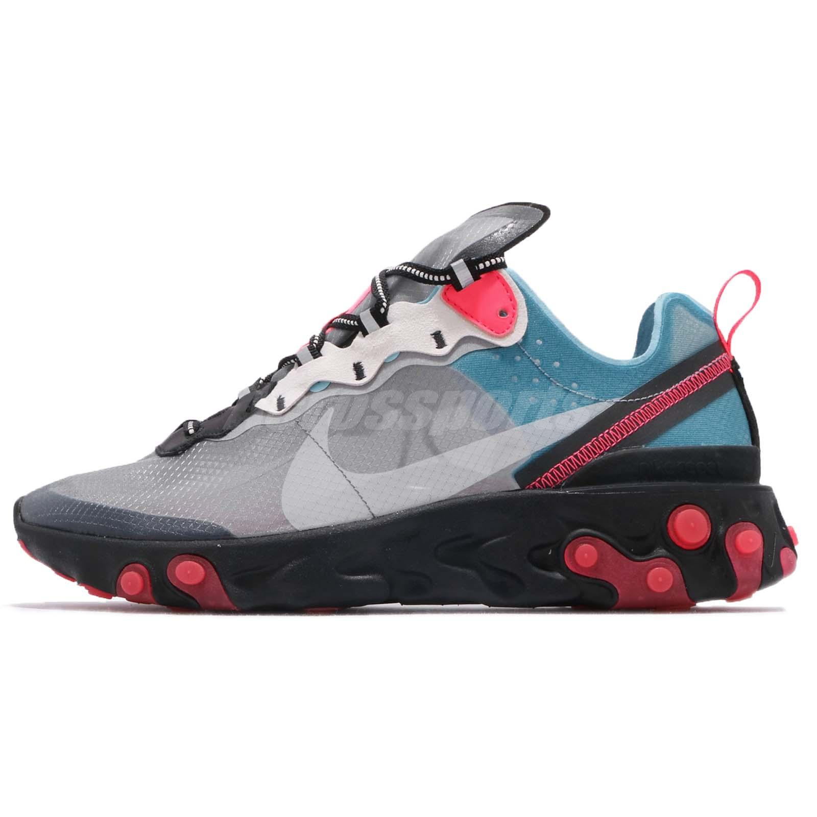 reputable site 51f20 6107c Nike React Element 87 Blue Chill Solar Red Grey Mens Running Shoes AQ1090- 006