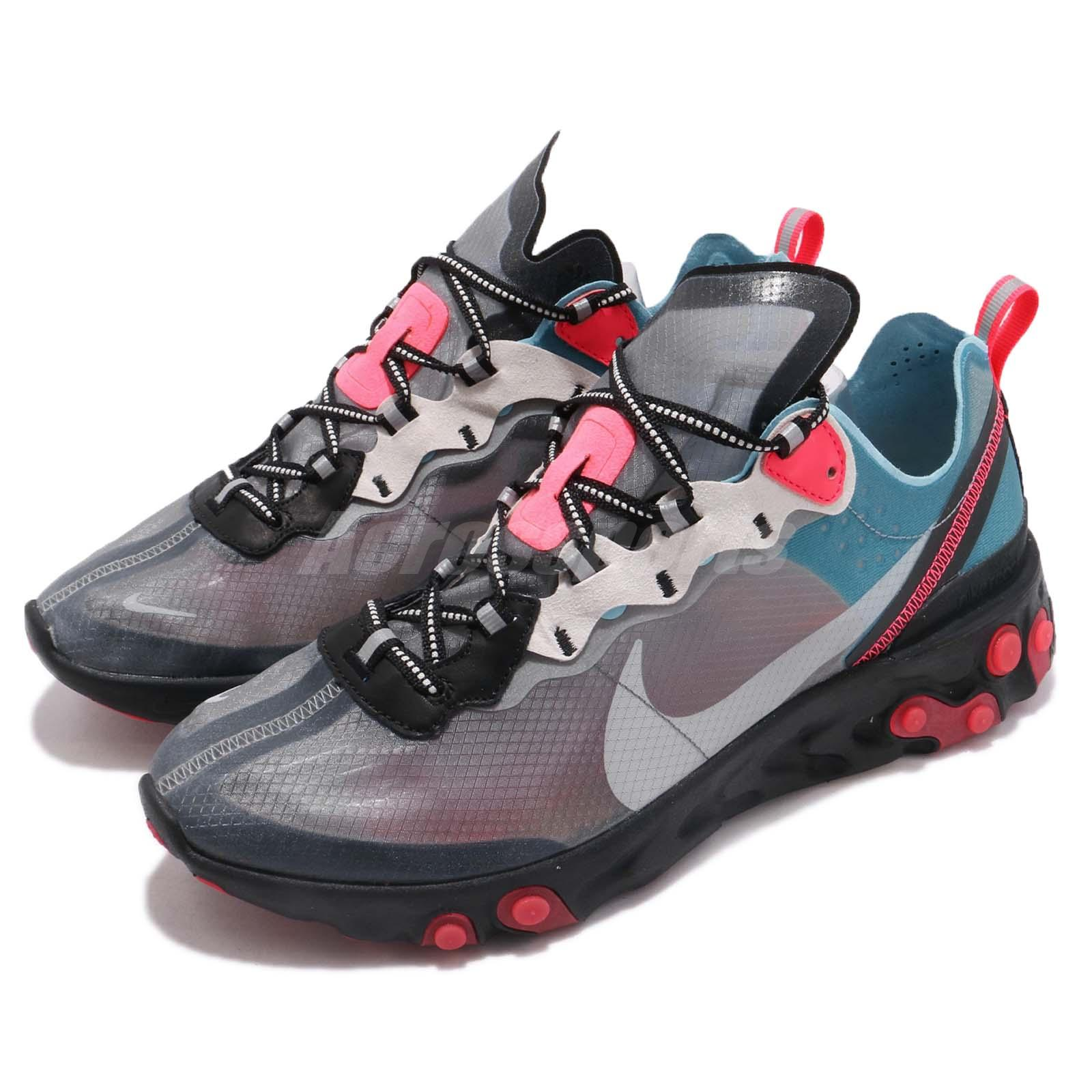 super popular 1d392 d0cc7 Details about Nike React Element 87 Blue Chill Solar Red Grey Mens Running  Shoes AQ1090-006
