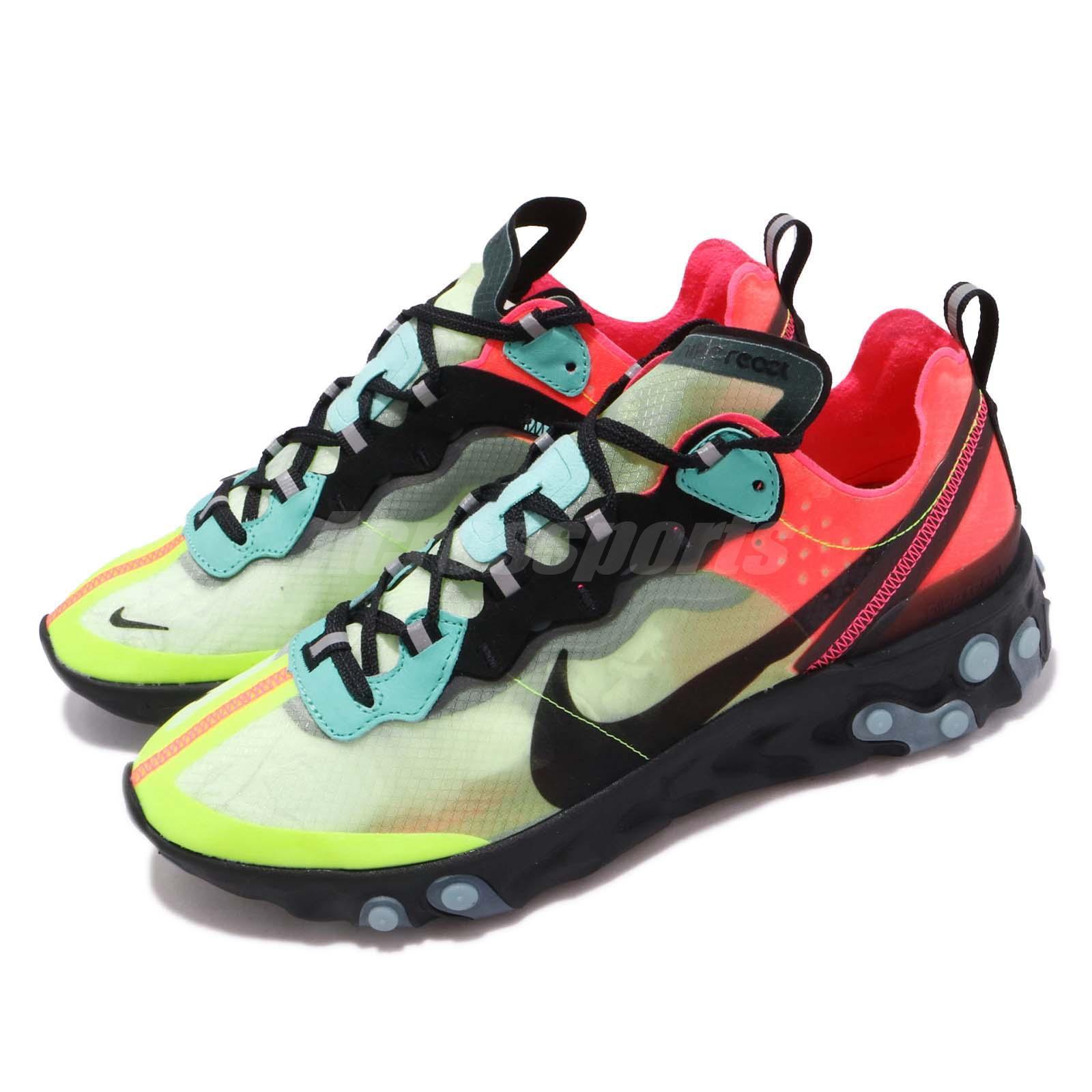 4a4111d9082b Details about Nike React Element 87 Hyper Fusion Volt Racer Pink Black Men  Shoes AQ1090-700