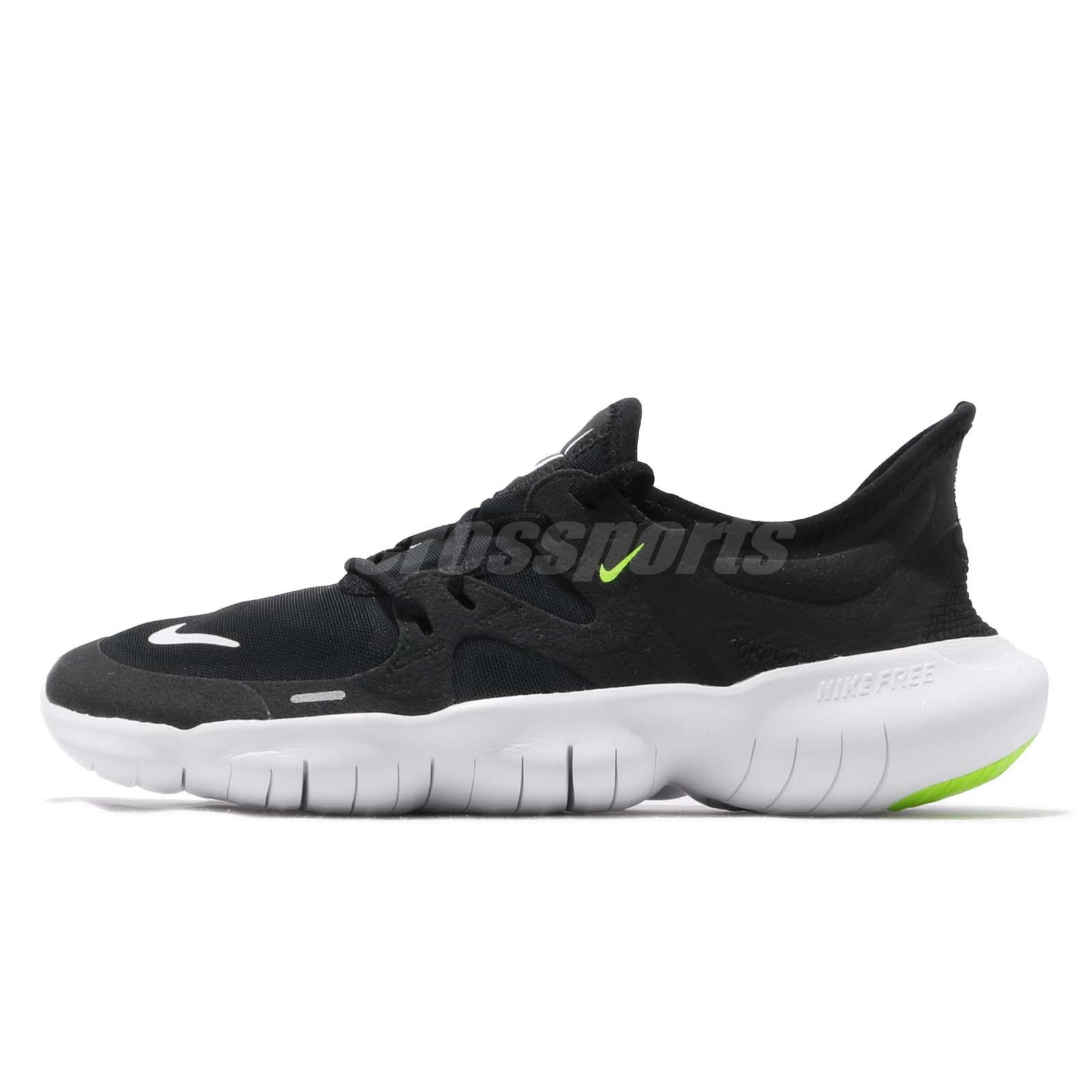 new styles 535e9 09d48 Nike Free RN 5.0 Run Black White Volt Men Running Shoes Sneakers AQ1289-003