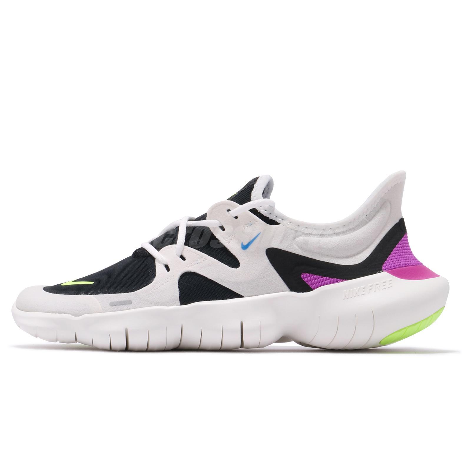 e953d1a40245 Nike Free RN 5.0 White Black VOlt Purple Mens Running Shoes Run AQ1289-100