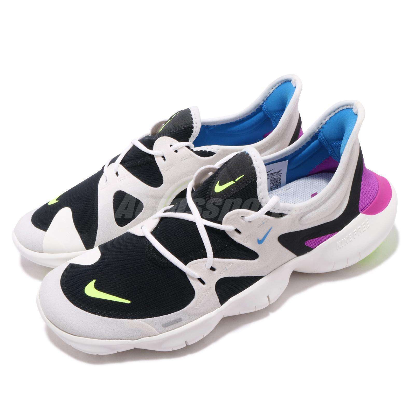 614e5308ce98e Details about Nike Free RN 5.0 White Black VOlt Purple Mens Running Shoes  Run AQ1289-100