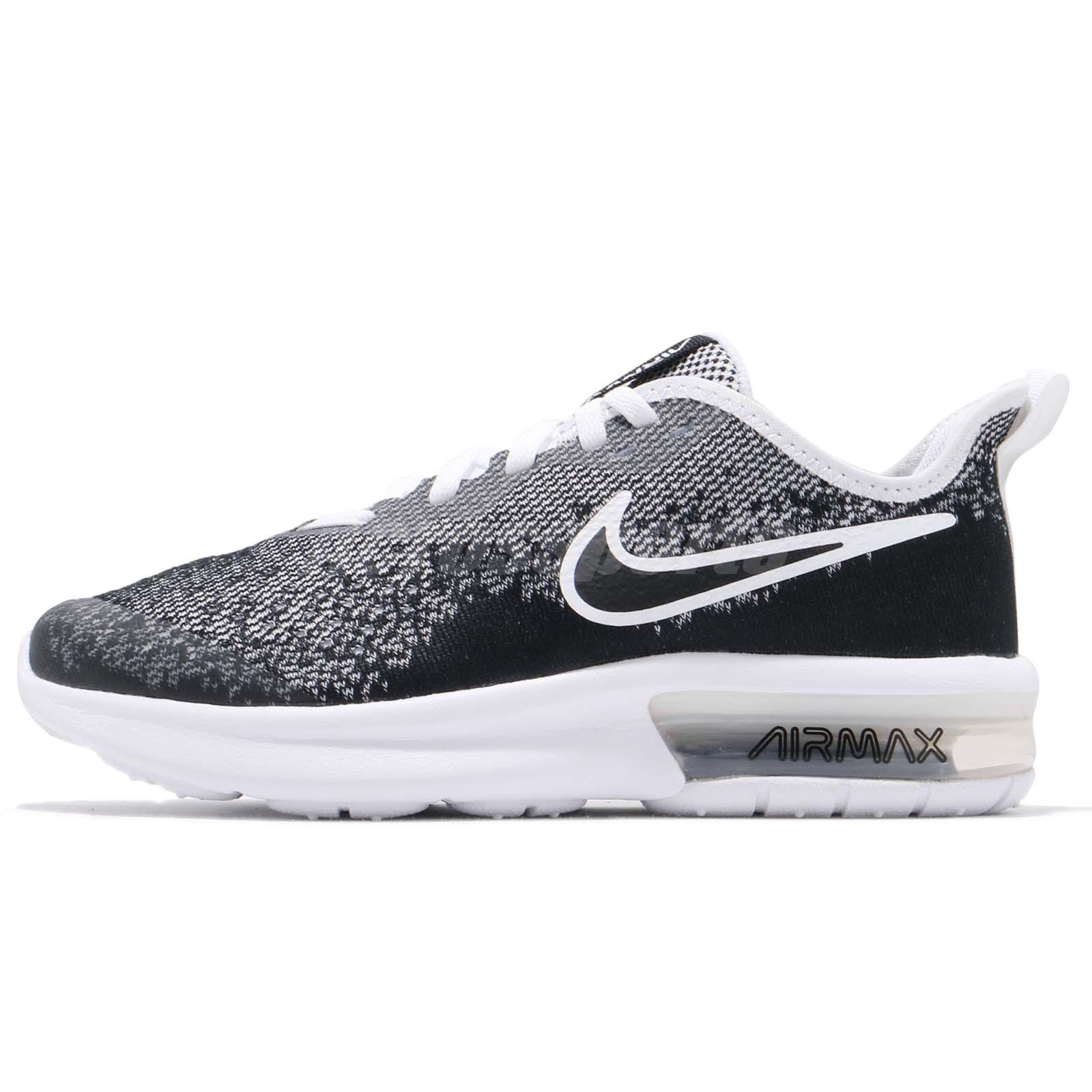 the best attitude c4888 f919b Nike Air Max Sequent 4 GS IV Black White Kid Youth Women Running Shoe  AQ2244-001
