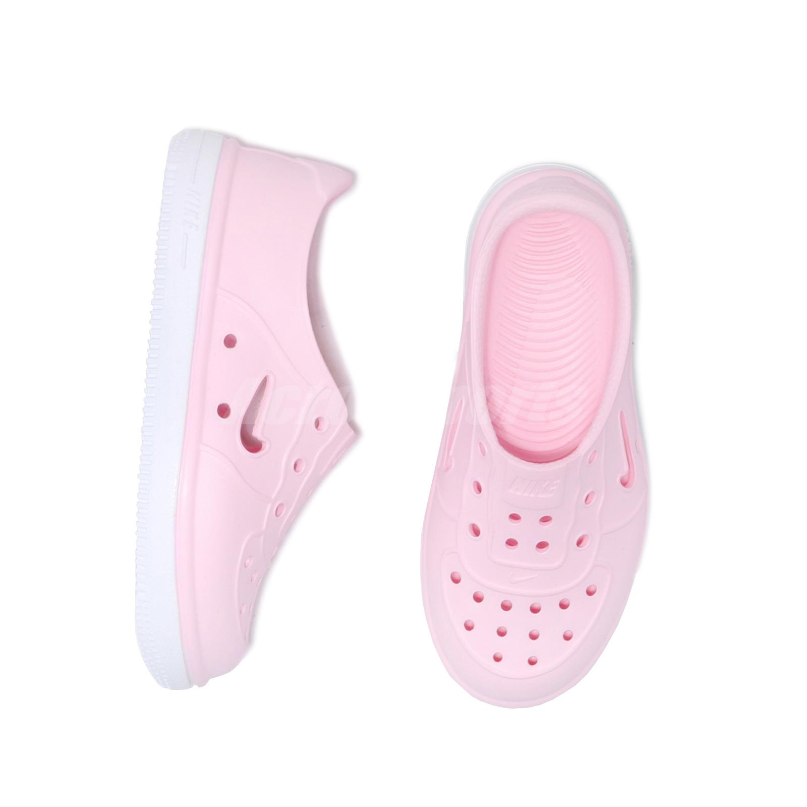 Nike Foam Force 1 TD Pink White Toddler Infant Slip On Shoes Sandals AQ2442-600