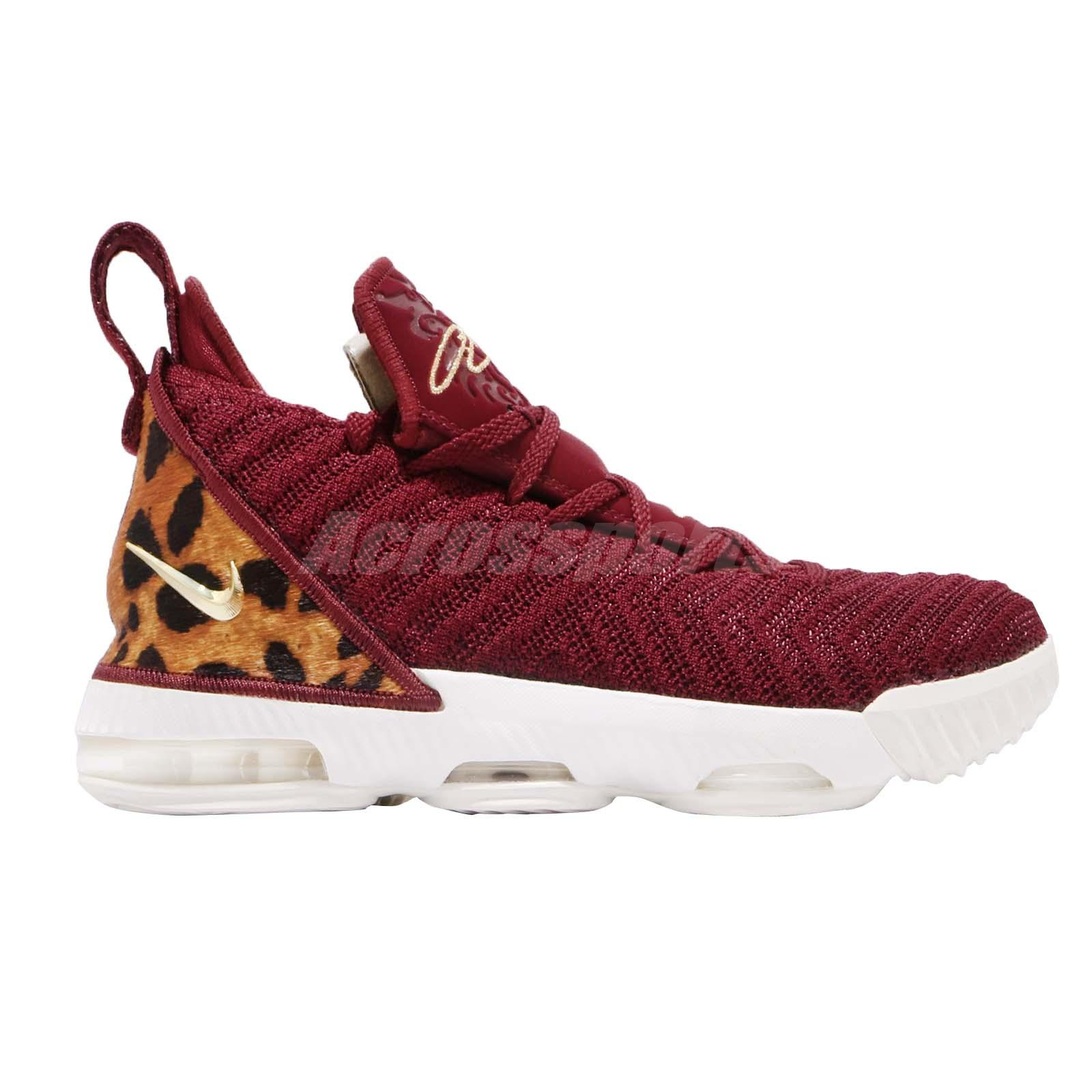 ebfed376c36a Nike LeBron XVI GS 16 King James Red Gold Leopard Kid Youth Women ...