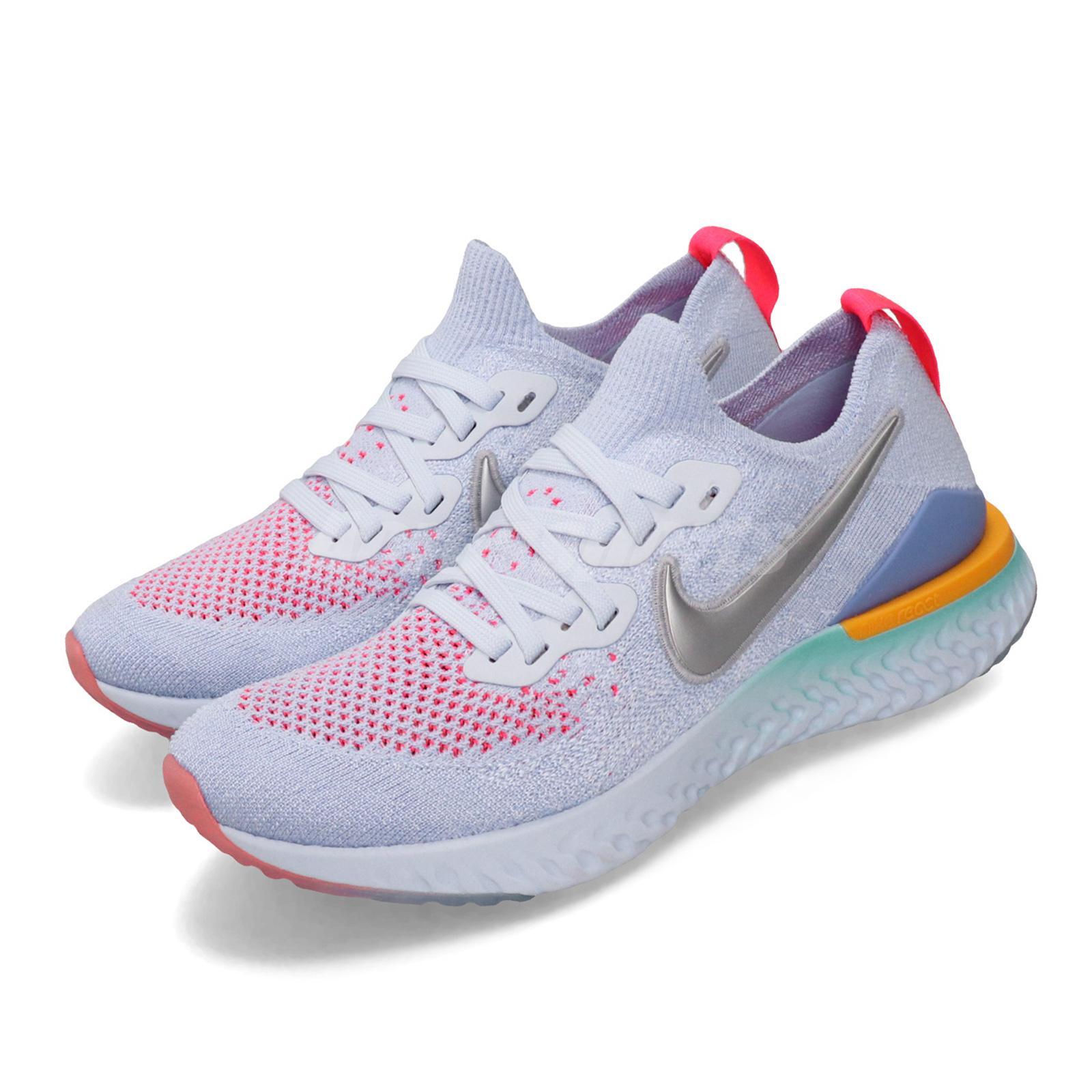 los angeles pretty cheap uk store Nike Epic React Flyknit 2 GS Aluminum Silver Blue Pink Kid Women ...