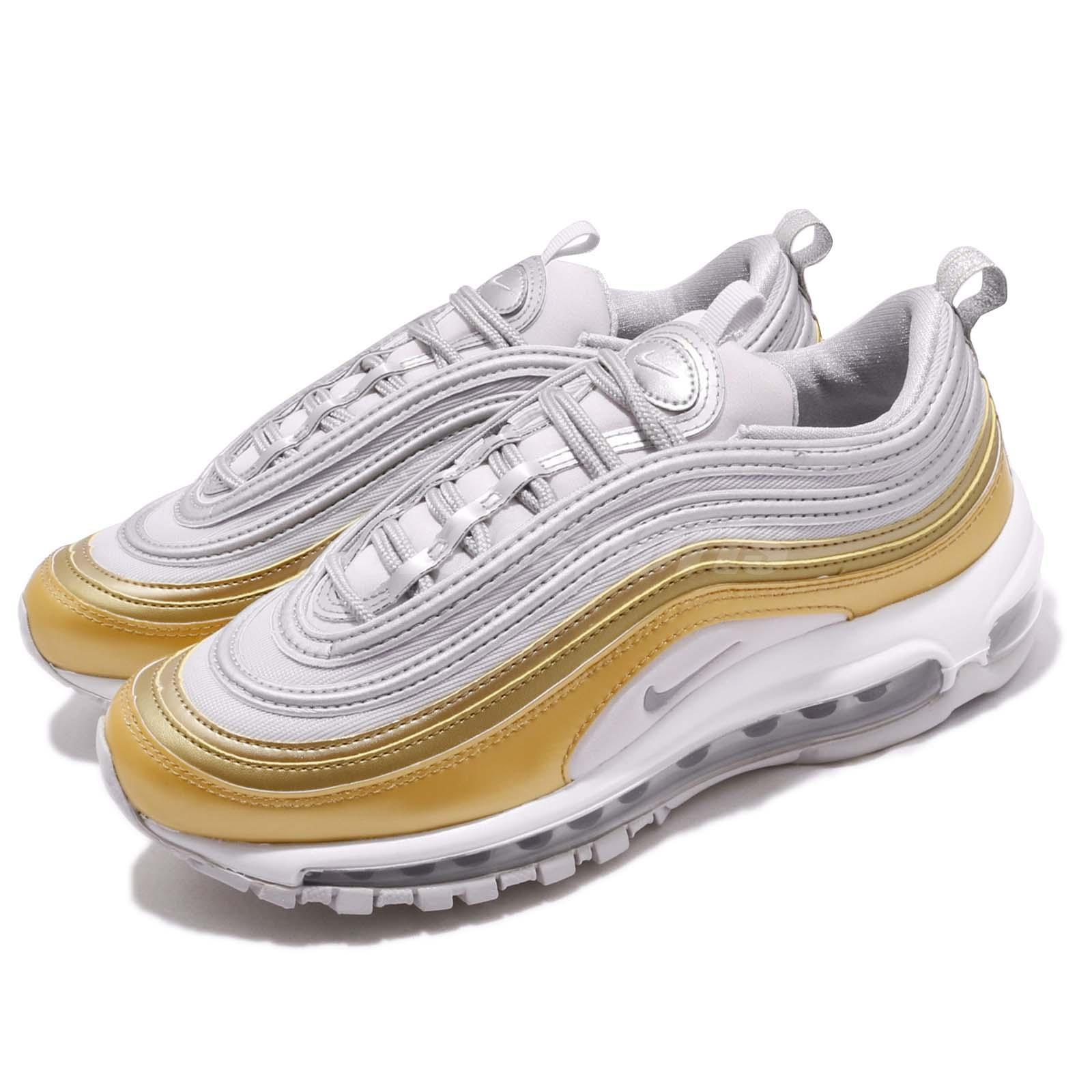 Details about Nike Wmns Air Max 97 SE Metallic Silver Vast Grey Gold Women Shoes AQ4137 001