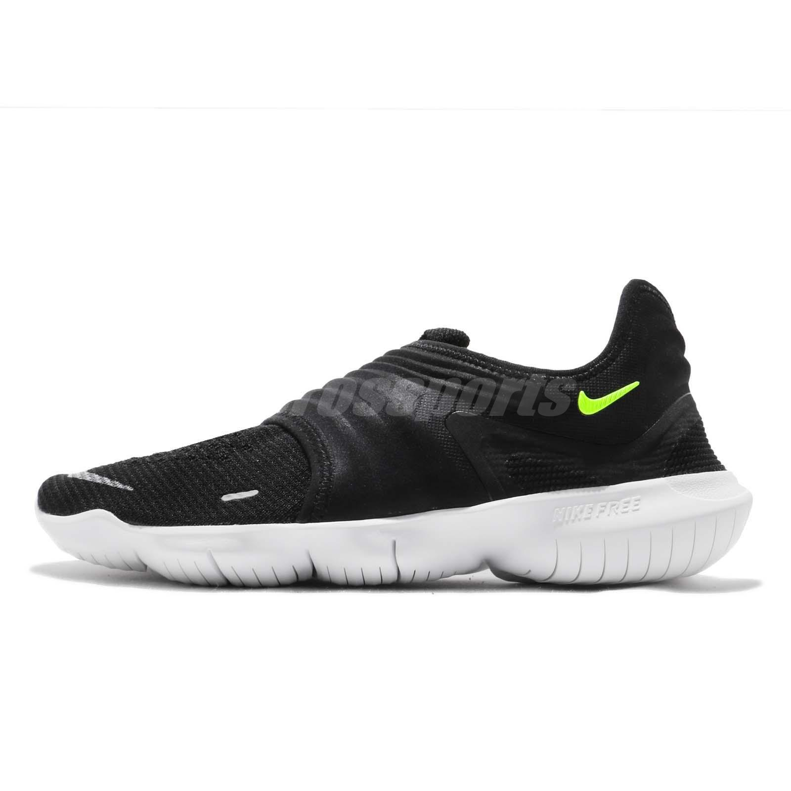 low priced 57e4e 7069c Details about Nike Free RN Flyknit 3.0 Black Volt White Men Running Shoes  Sneakers AQ5707-001