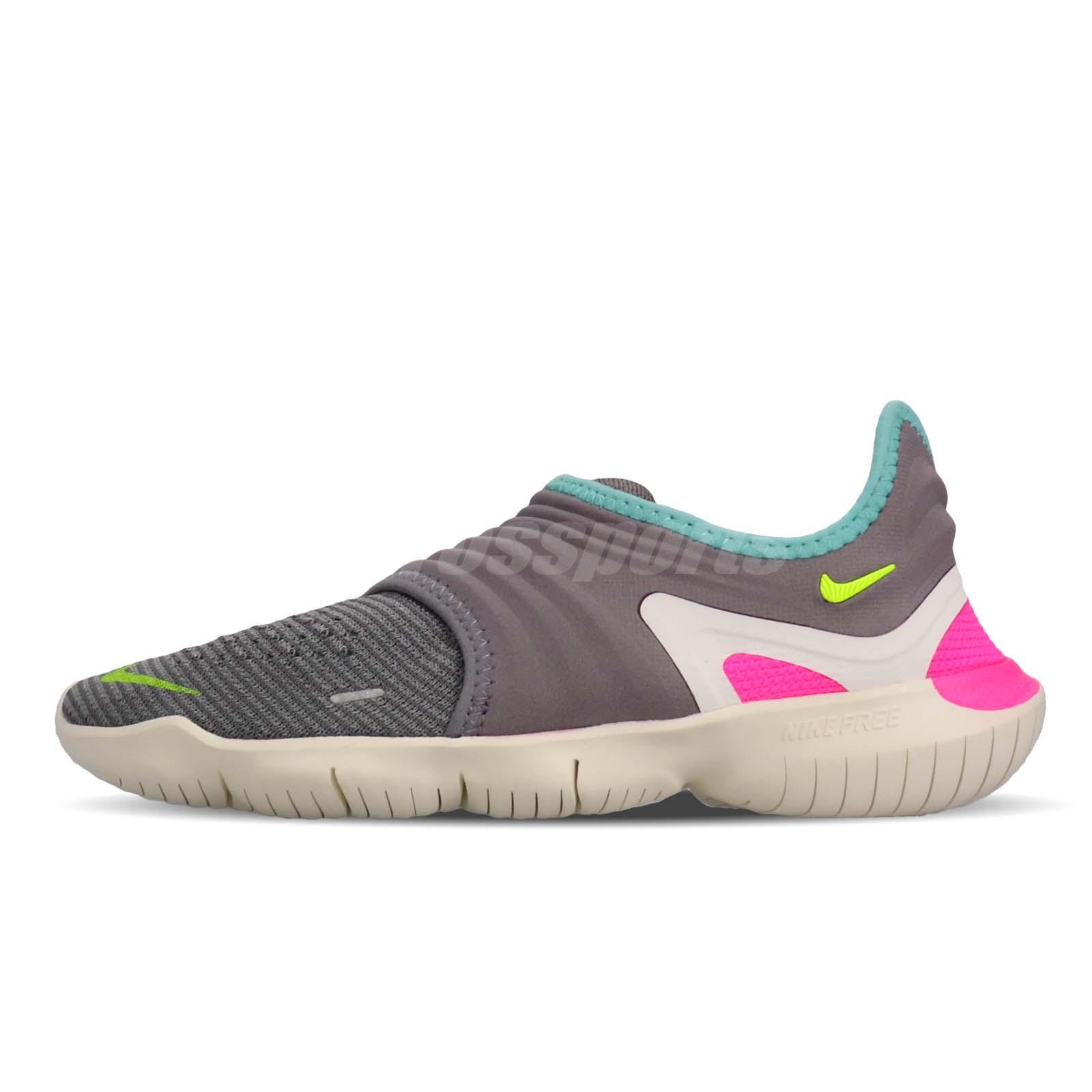 a86a610b8dab7 Nike Wmns Free RN Flyknit 3.0 Grey Green Pink Women Running Shoes AQ5708-002