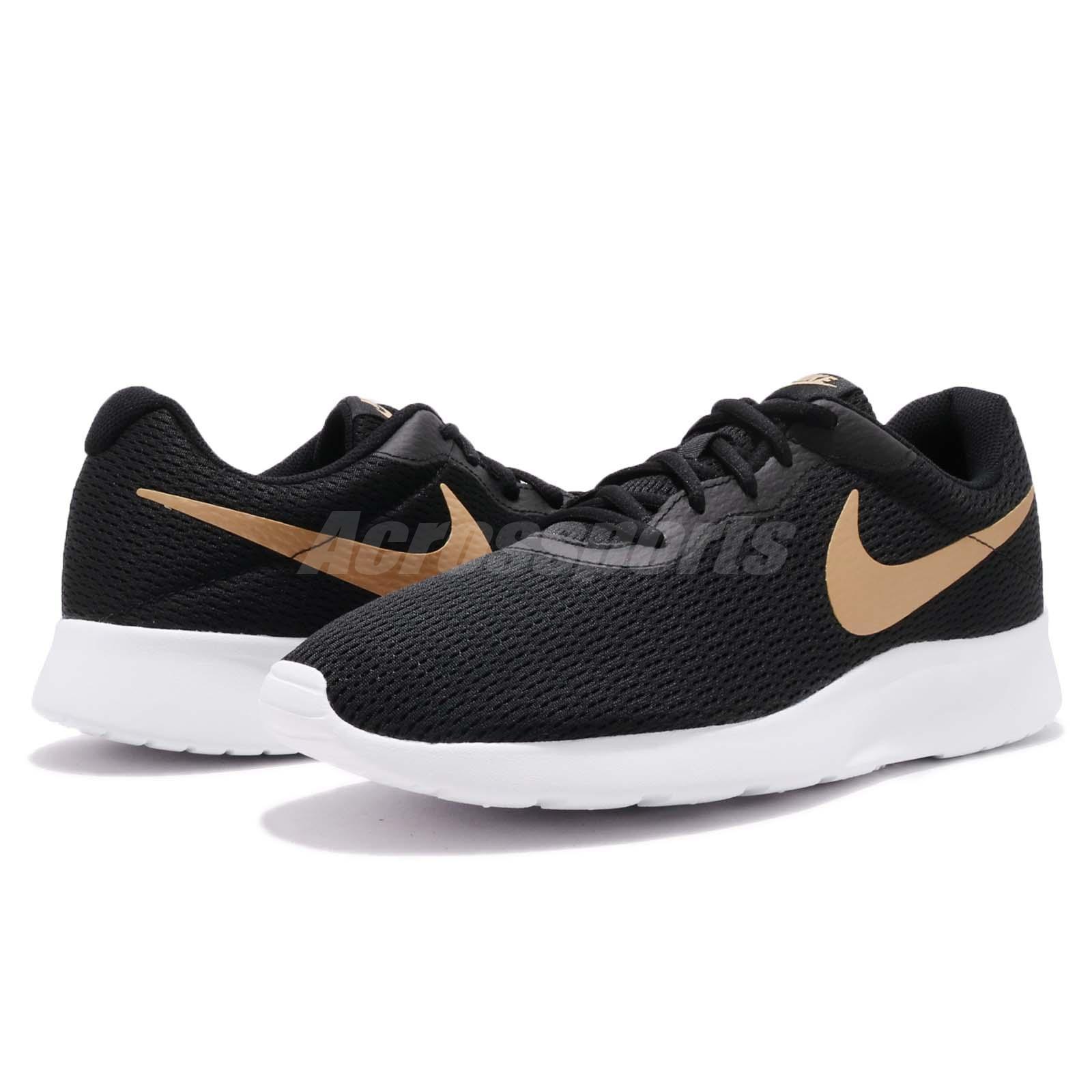 Nike Tanjun Black Gold White Men Running Casual Shoes Sneakers ... 3ae97d1eb1