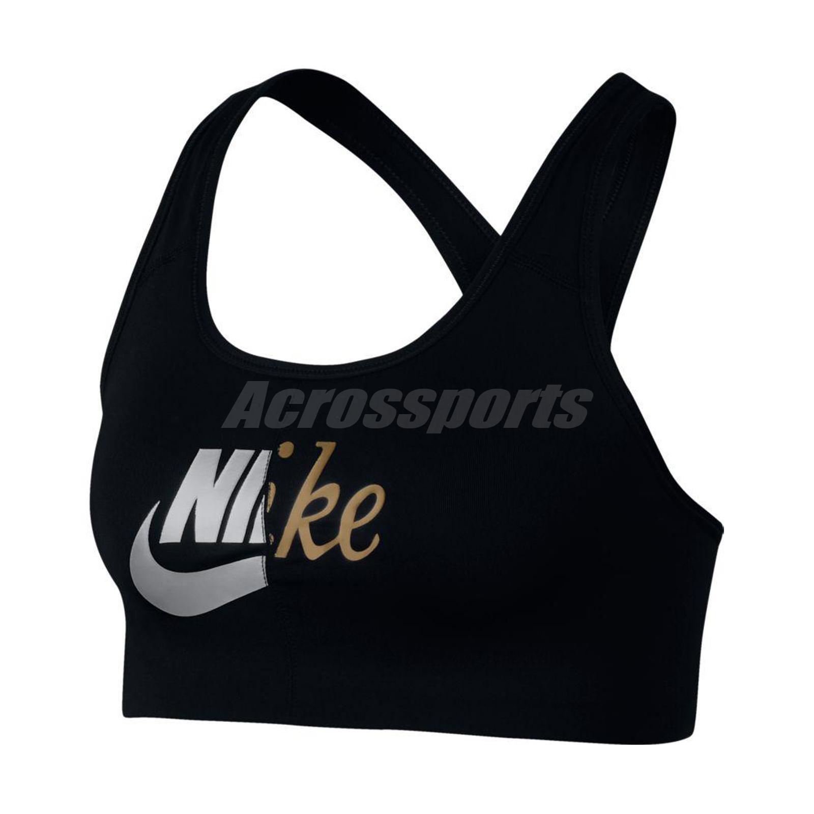 1e42e92ebb Nike Women Swoosh Metallic Futura Sports Bra Medium Support Gym Black  AQ8109-010
