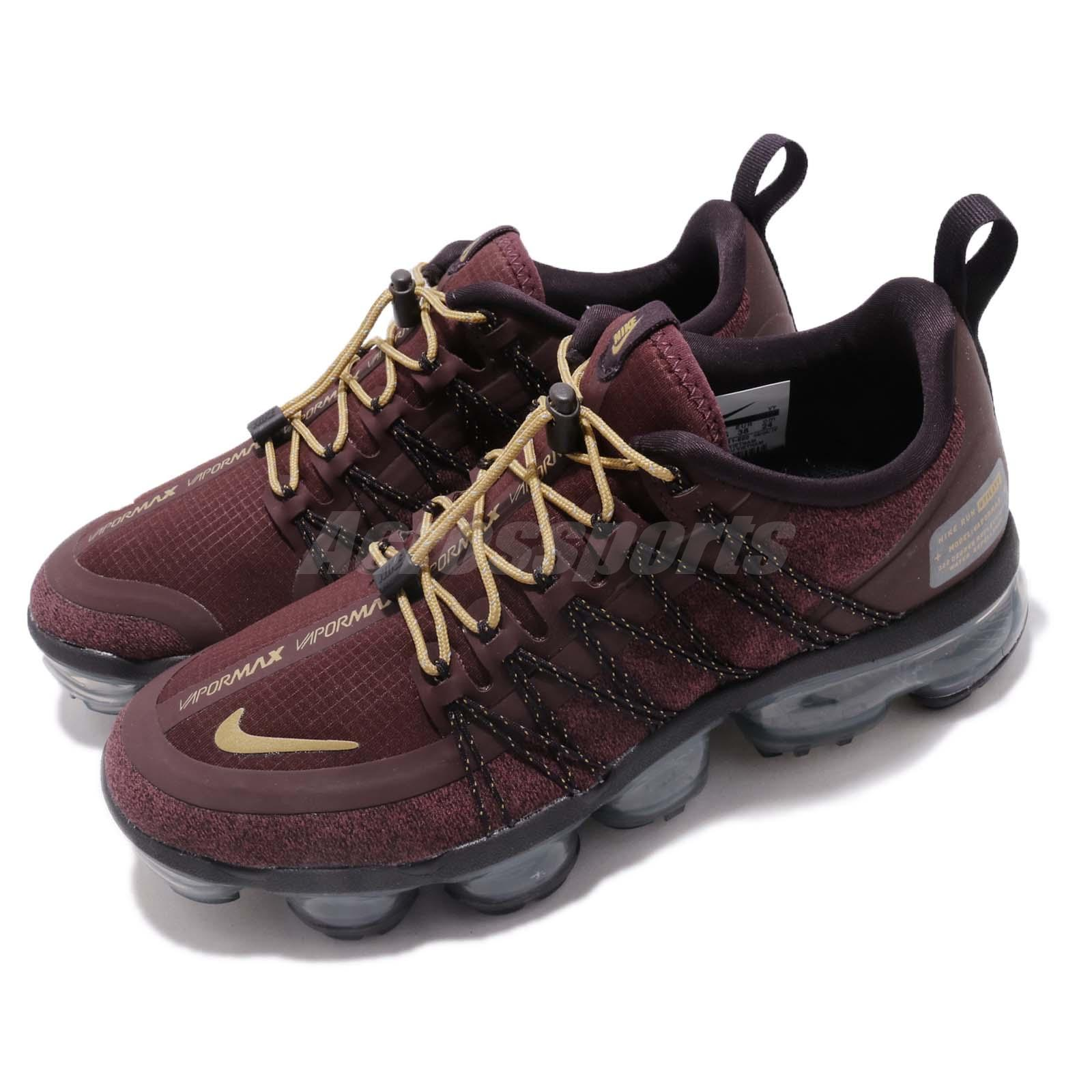 reputable site 49897 b6885 Details about Nike Wmns Air Vapormax Run Utility Burgundy Gold Women  Running Shoes AQ8811-600