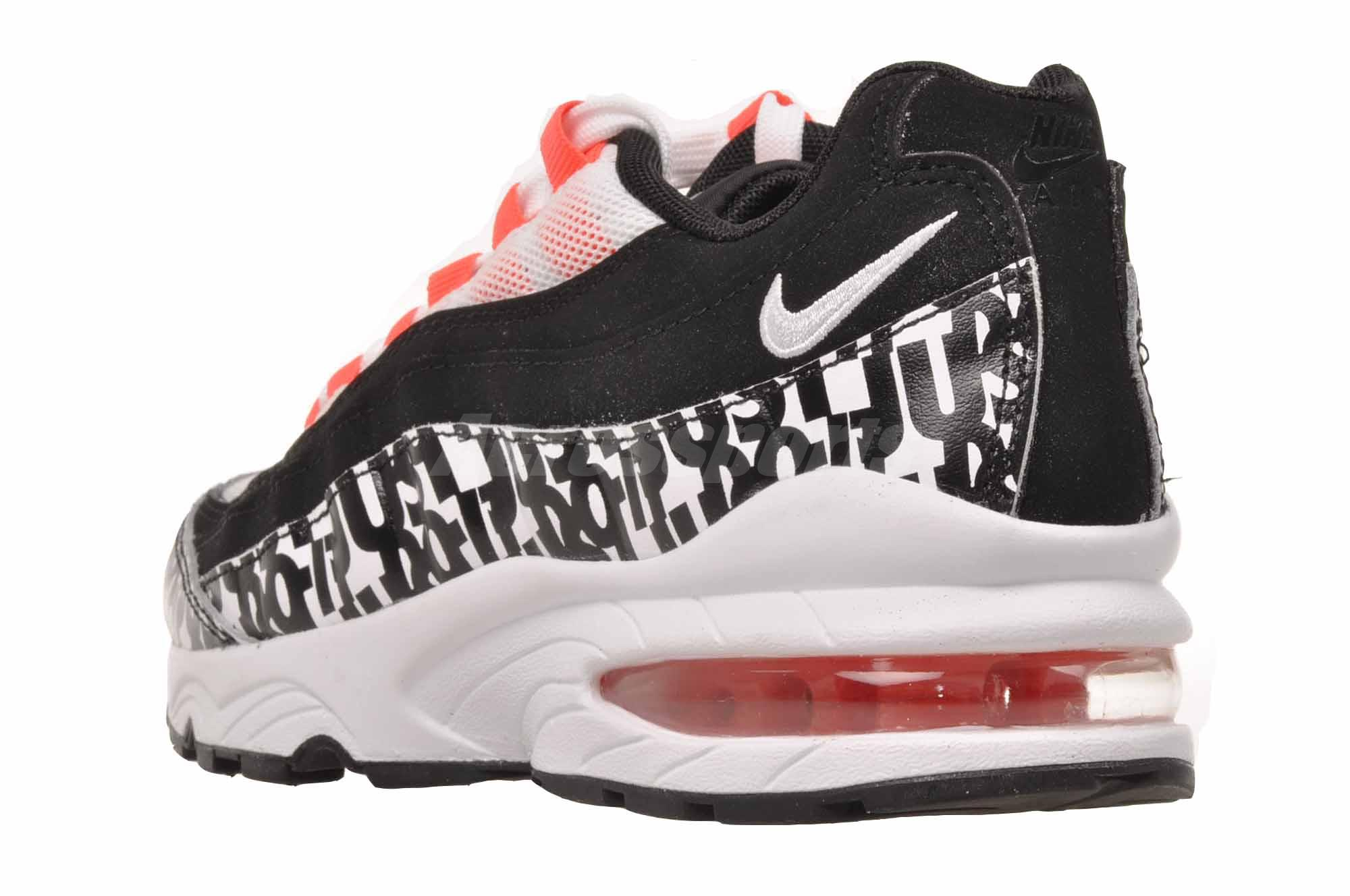 6789d996476 Nike Air Max 95 Print GS Kids Youth Running Shoes Black White AQ9711 ...