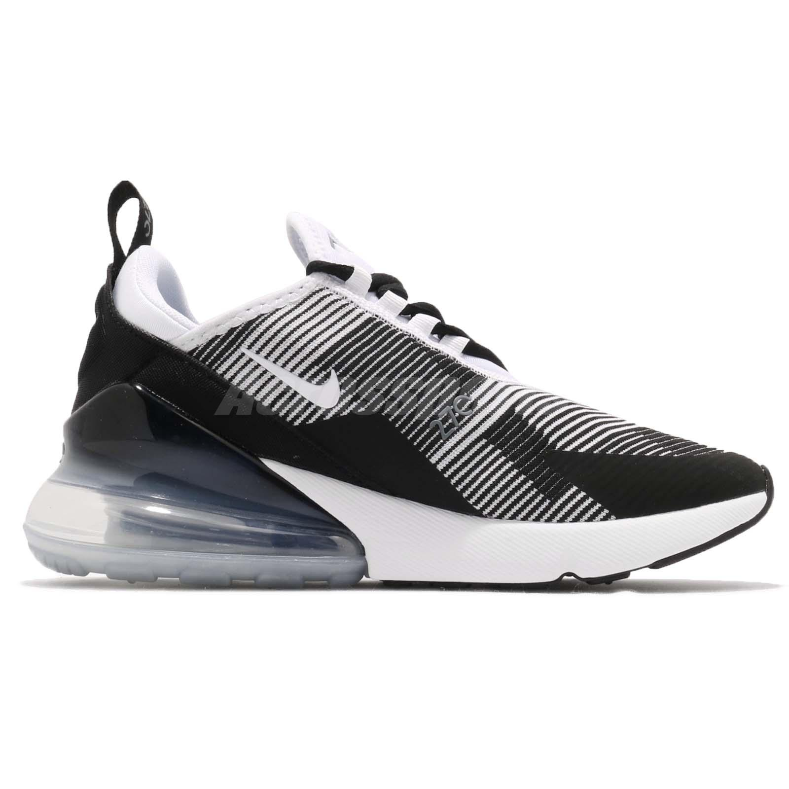 98bd66bedb3e9d Nike Air Max 270 KJCRD GS Black White Grey Kid Youth Women Shoes ...