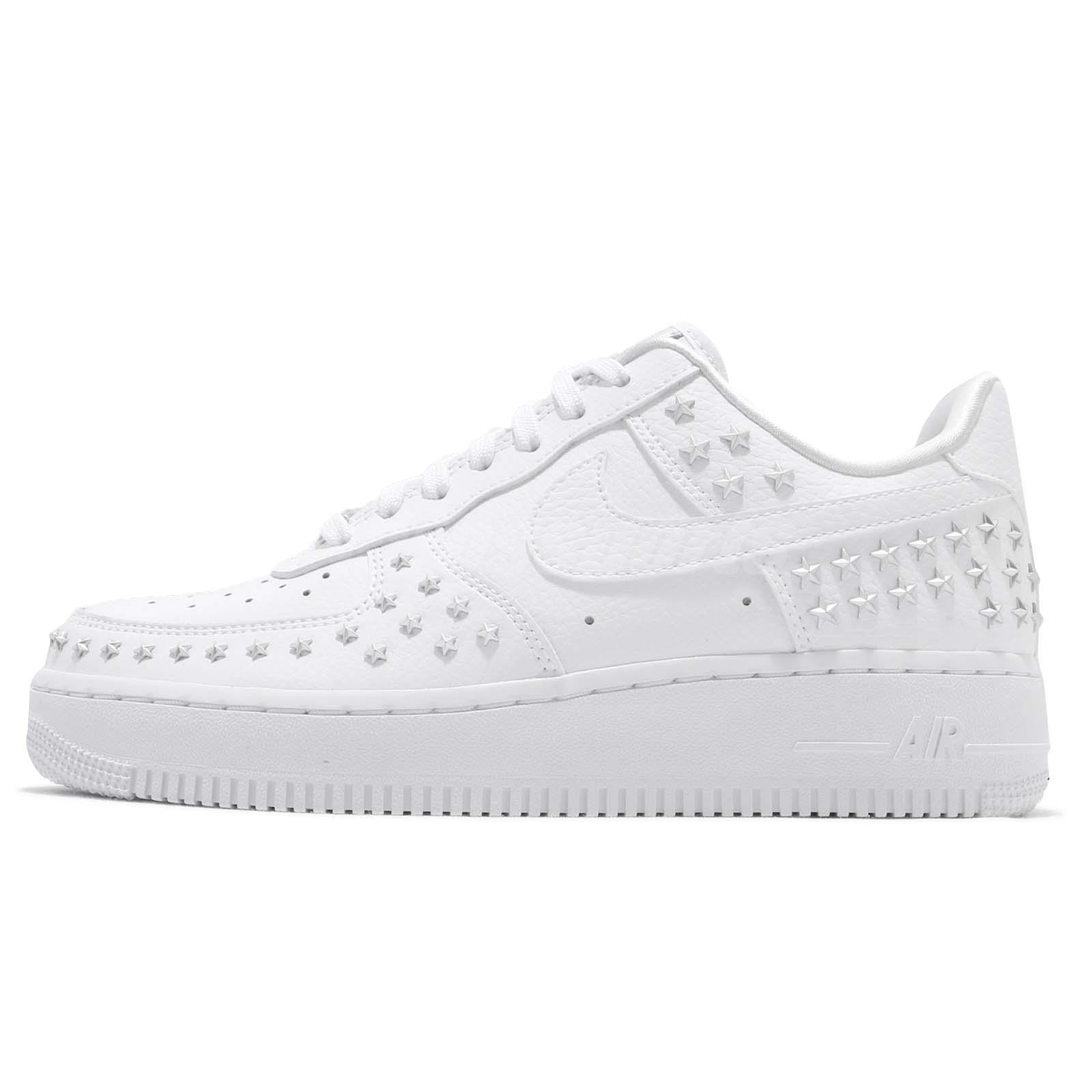 timeless design 7ce06 c0010 Nike Wmns Air Force 1 07 XX White Silver Star-Studded Women AF1 Shoes AR0639 -100