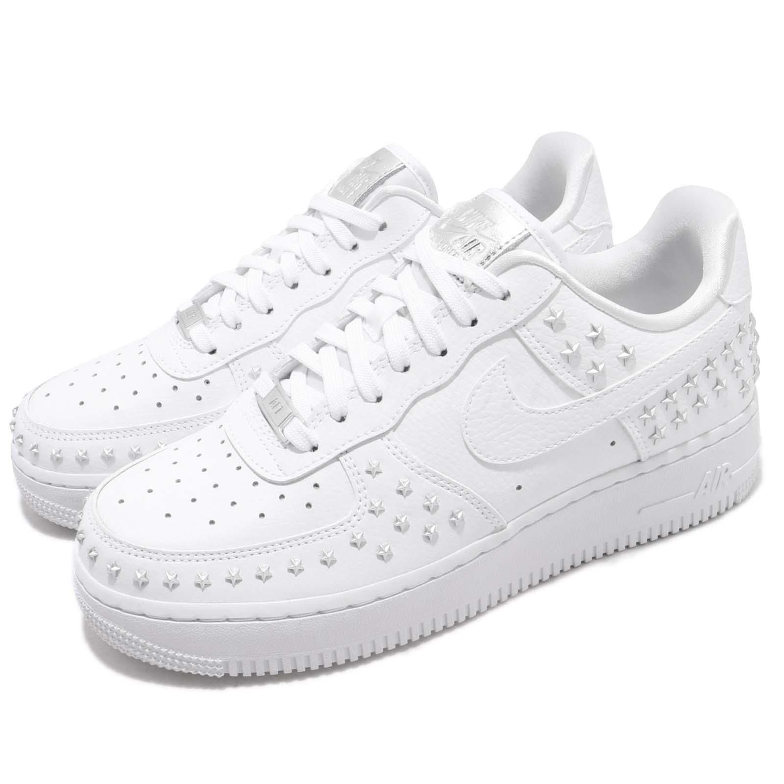 cheap for discount c1064 825d4 Details about Nike Wmns Air Force 1 07 XX White Silver Star-Studded Women AF1  Shoes AR0639-100
