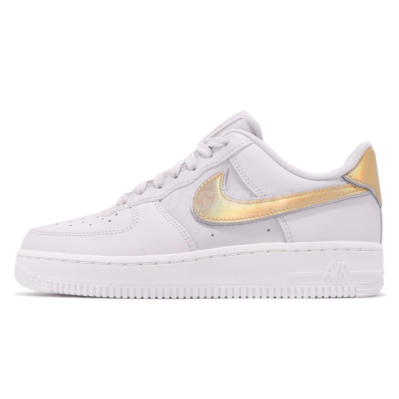 Details about Nike Wmns Air Force 1 07 MTLC AF1 Grey Gold Women Casual Shoe Sneaker AR0642 001