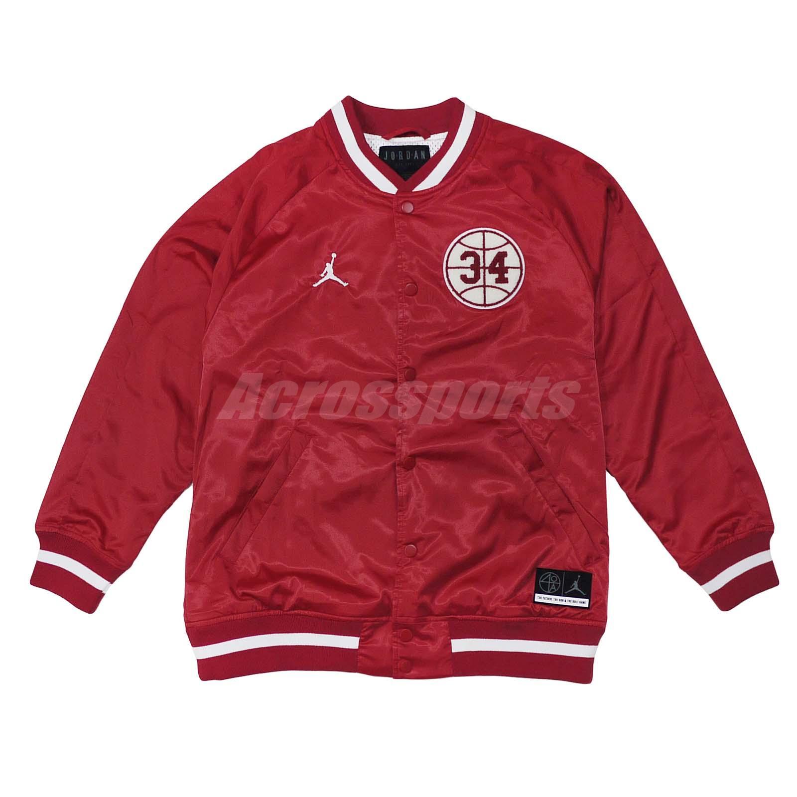 ab0749f1af16b3 Nike Jordan He Got Game Satin Baseball Jacket Bomber Air Gym Red AR1170-688