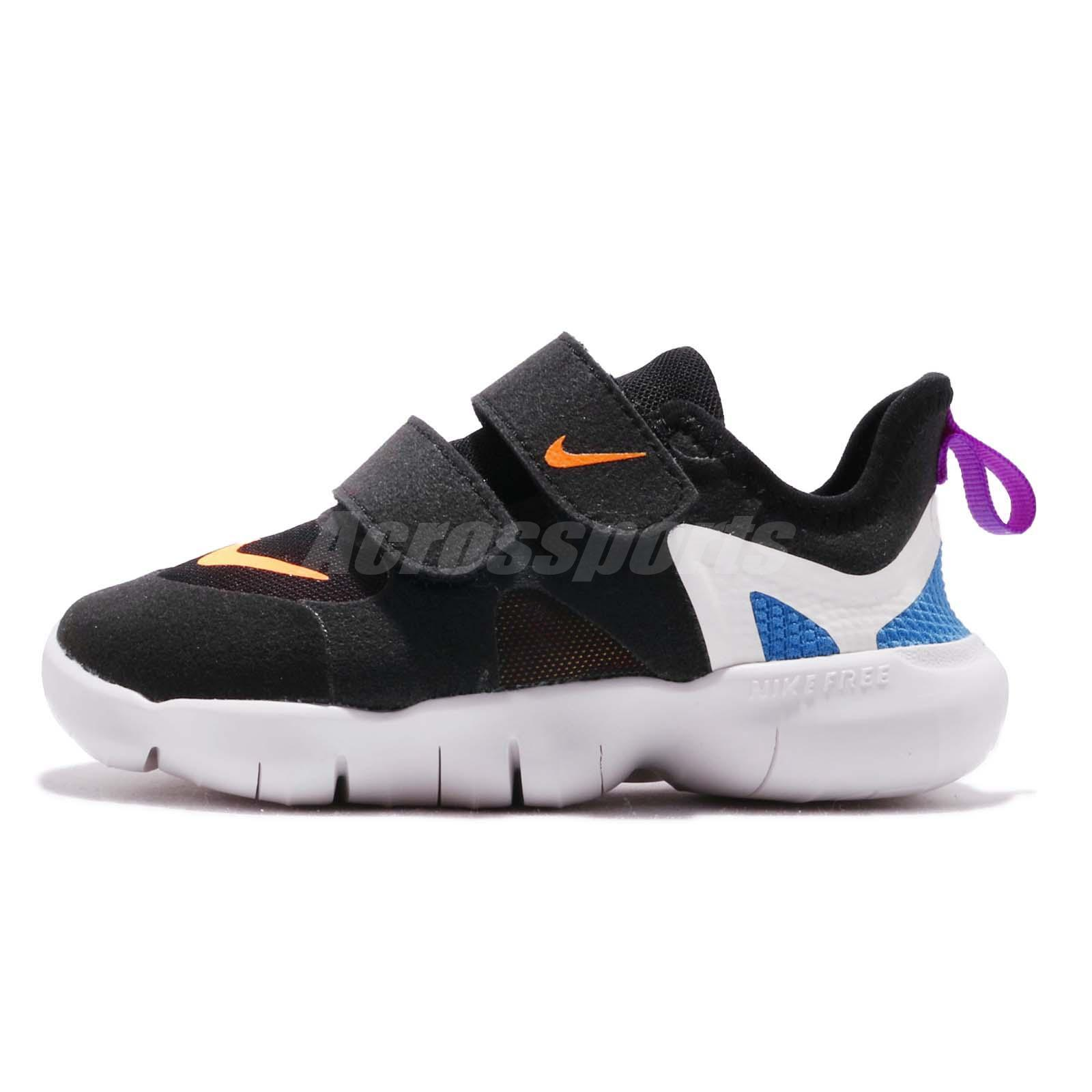 best service 42be5 08b4e Details about Nike Free RN 5.0 TDV Black White Orange Blue Toddler Infant  Baby Shoe AR4146-003