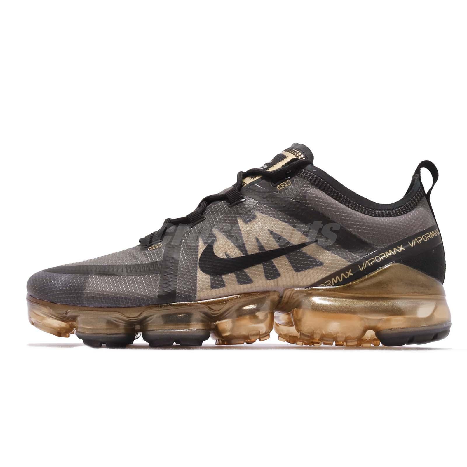 85d7f12dc7c Nike Air Vapormax 2019 Black Gold Max Mens Running Shoes Sneakers AR6631-002