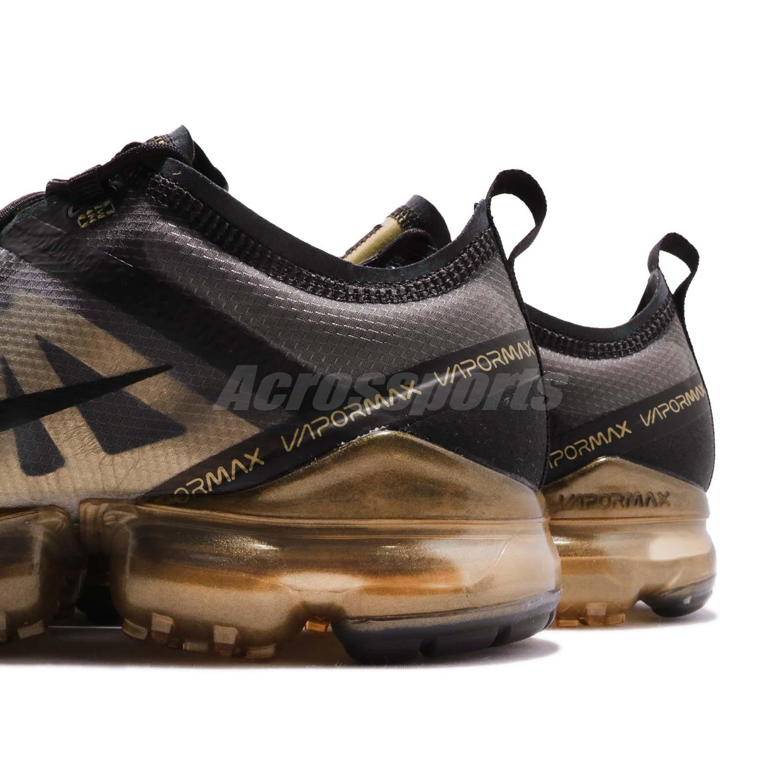 25cba188557 Nike Air Vapormax 2019 Black Gold Max Mens Running Shoes Sneakers ...