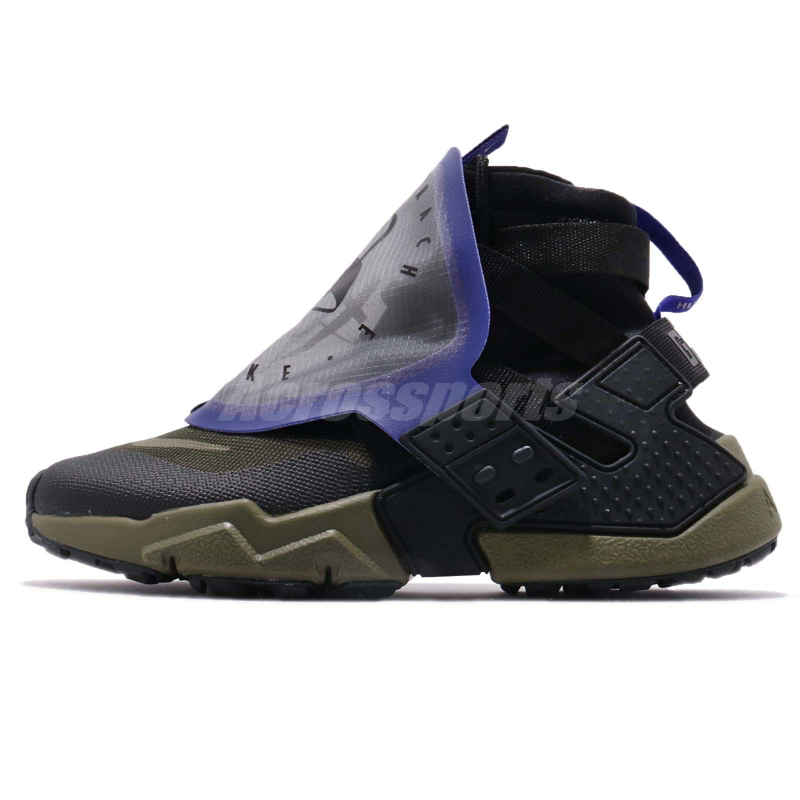 a2d2326fee35 Nike Air Huarache Gripp QS Black Olive Canvas Zipper Men Running Shoe AT0298 -001