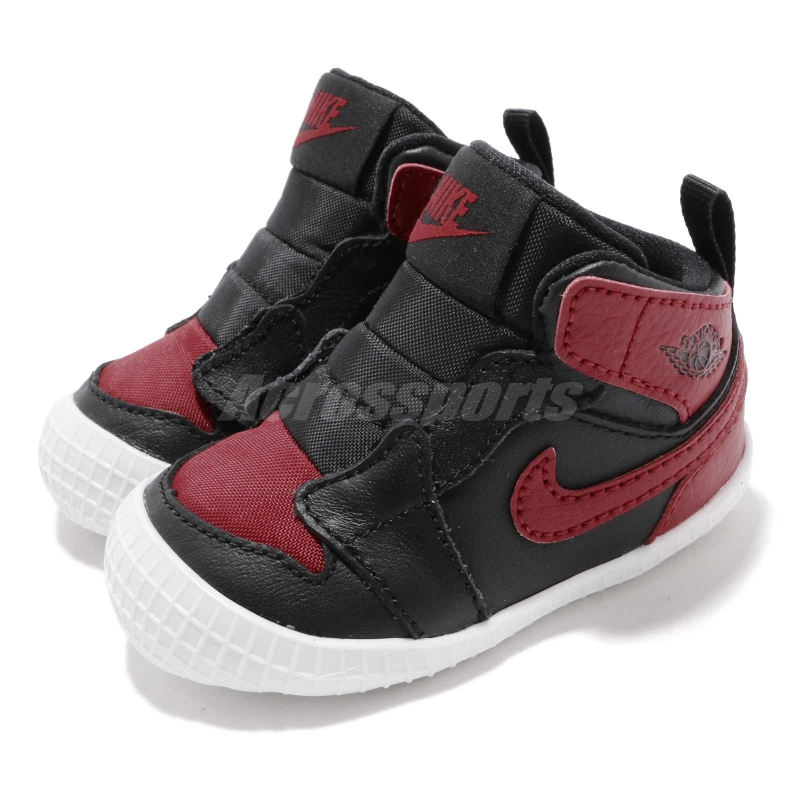 acheter populaire b1deb 758c1 Details about Nike Jordan 1 CRIB Bootie I AJ1 Bred Black Red TD Toddler  Infant Shoe AT3745-023