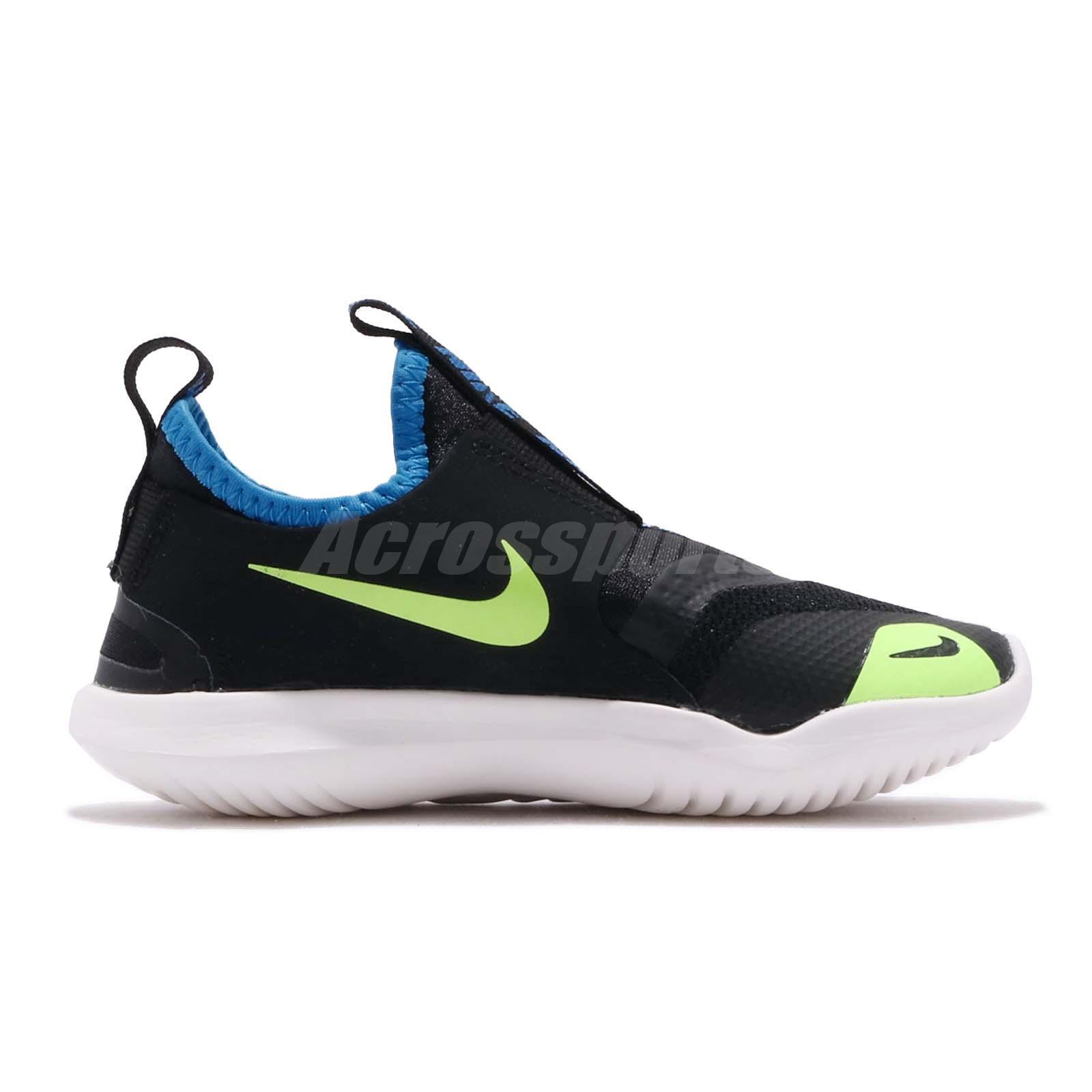 f984f844e72 Nike Flex Runner PS Black Volt White Preschool Kids Running Shoes ...
