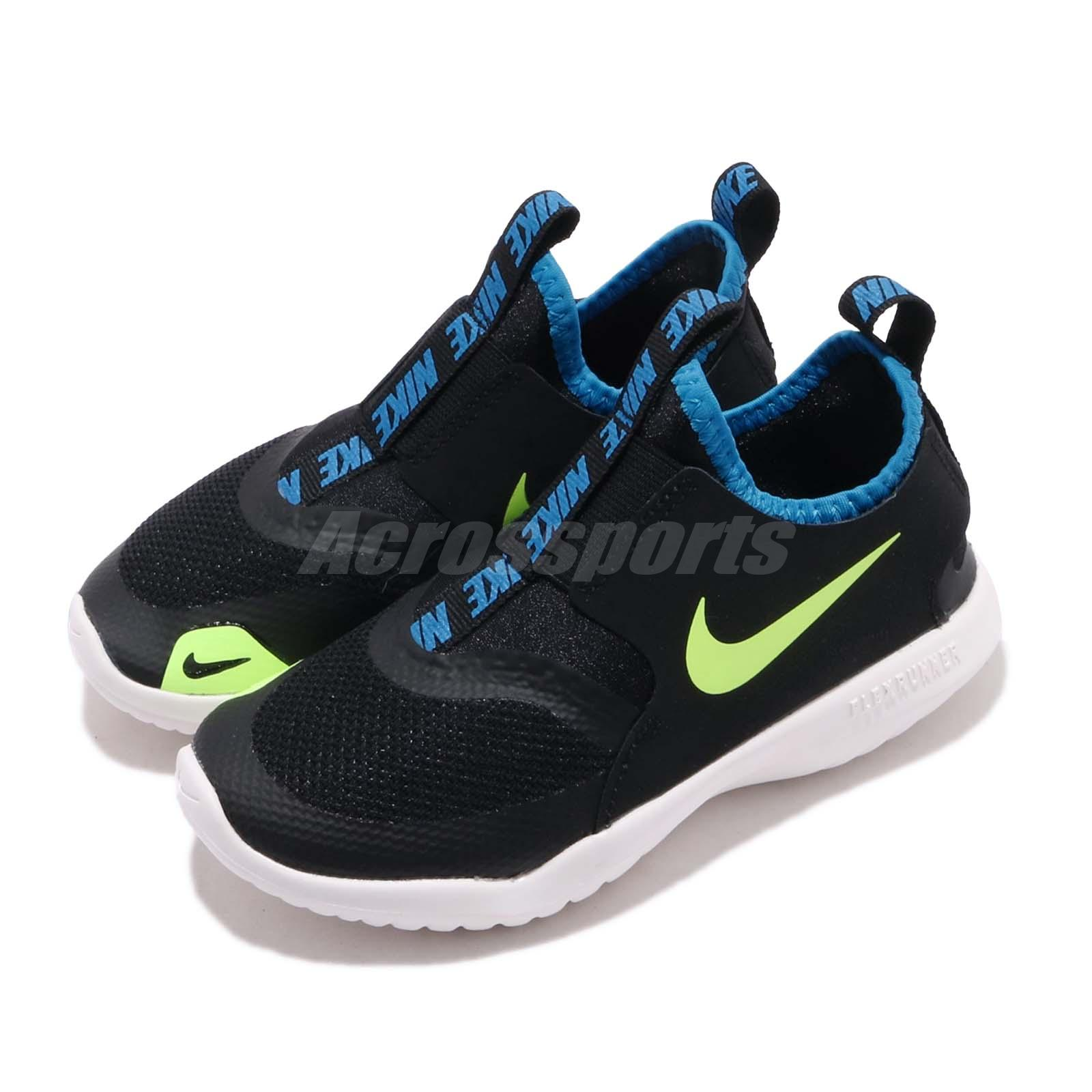 code promo 0fd12 311c7 Details about Nike Flex Runner PS Black Volt White Preschool Kids Running  Shoes AT4663-005