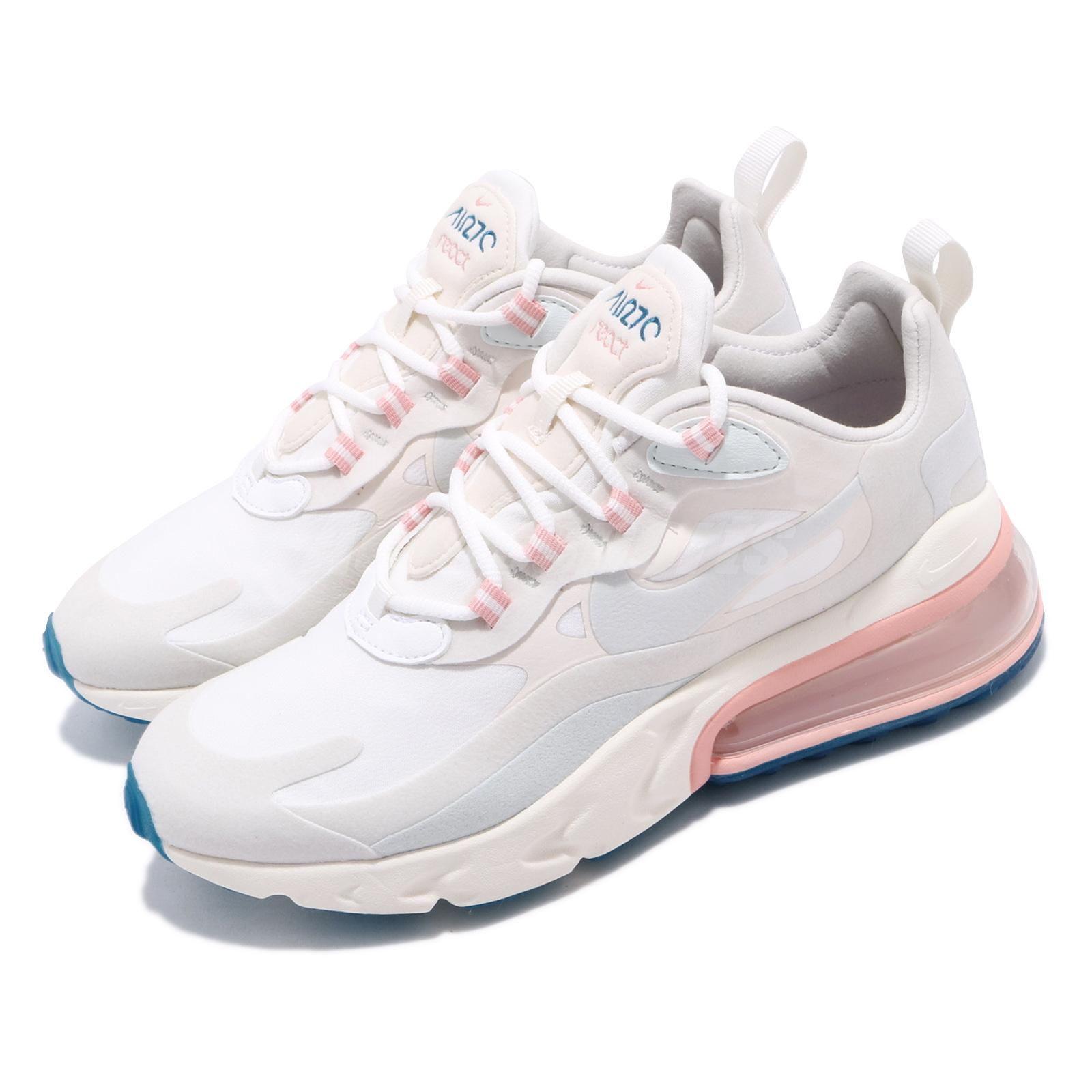quality design 8b092 514ce Details about Nike Air Max 270 React Summit White Blue Pink Womens Running  Shoes AT6174-100