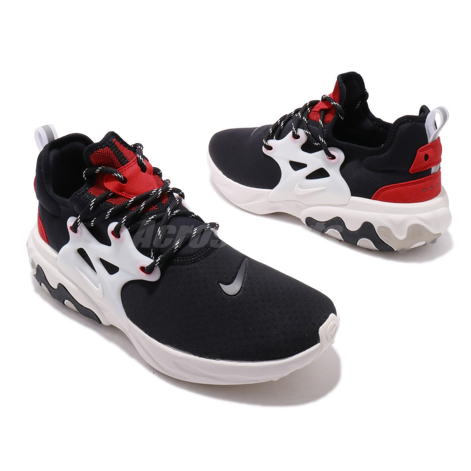 9880b2d539e07 Nike React Presto Black Phantom Red Men Running Shoes Sneakers ...