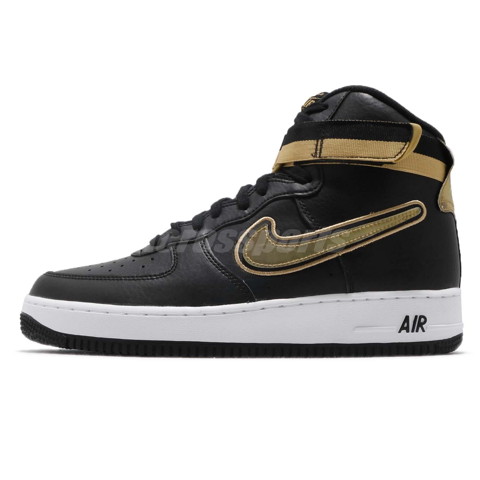 4f7449aefbc7 Nike Air Force 1 High 07 LV8 Sport NBA Black Metallic Gold AF1 Men  AV3938-001