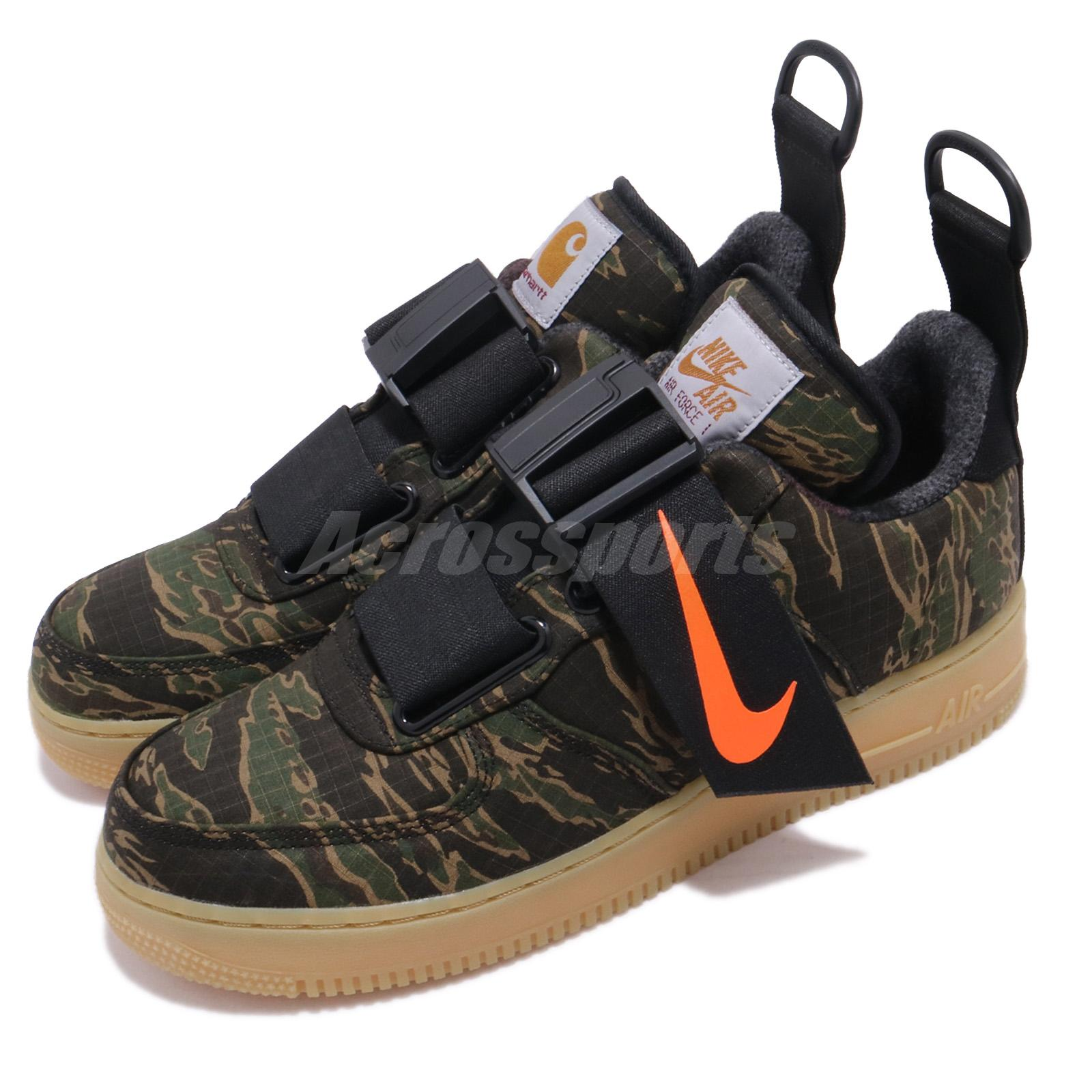 81013ef2387f5 Details about Nike Air Force 1 Low Utility X Carhartt WIP Tiger Camo Green  Orange AV4112-300